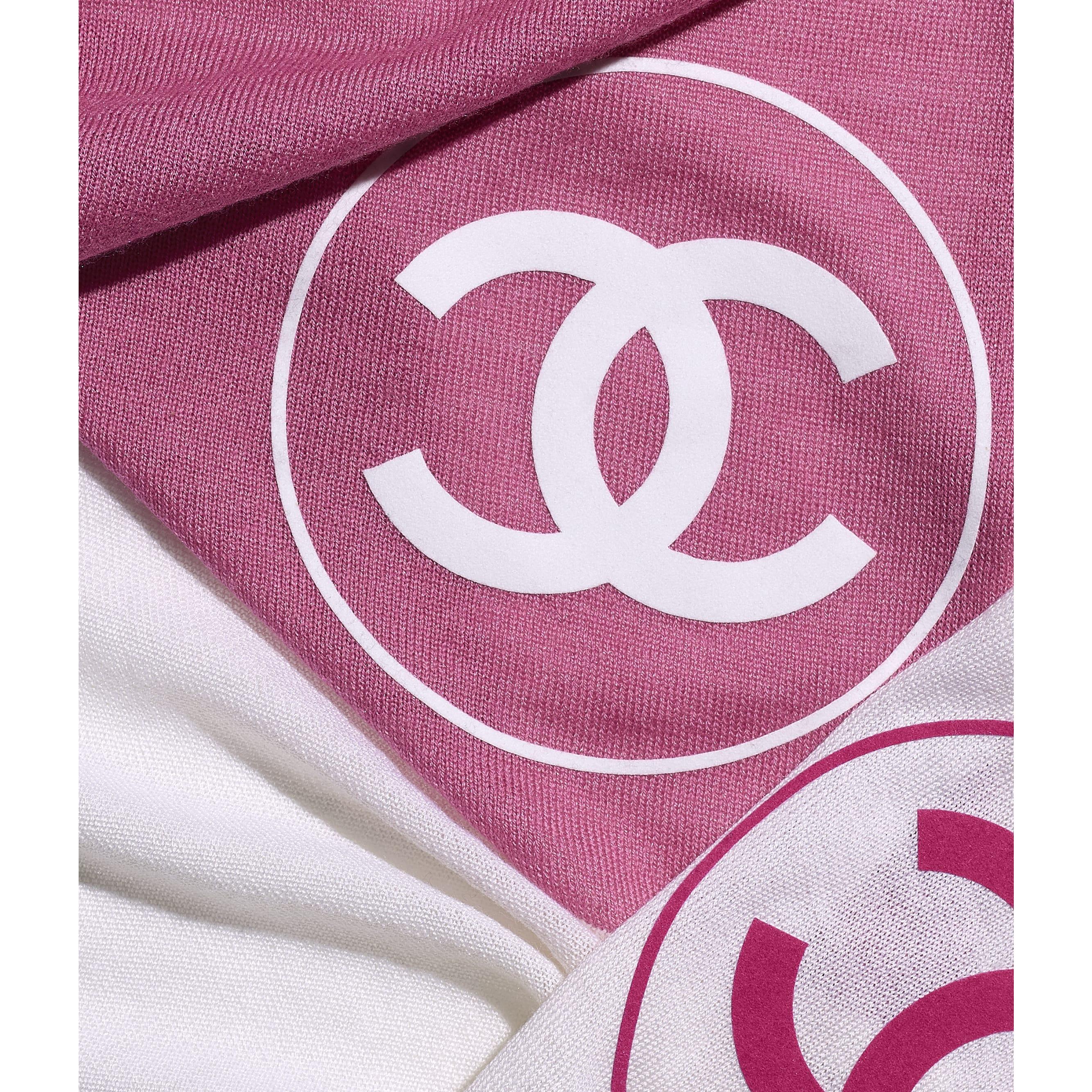 Палантин - Розовый и белый - Шерсть - CHANEL - Вид по умолчанию - посмотреть изображение стандартного размера