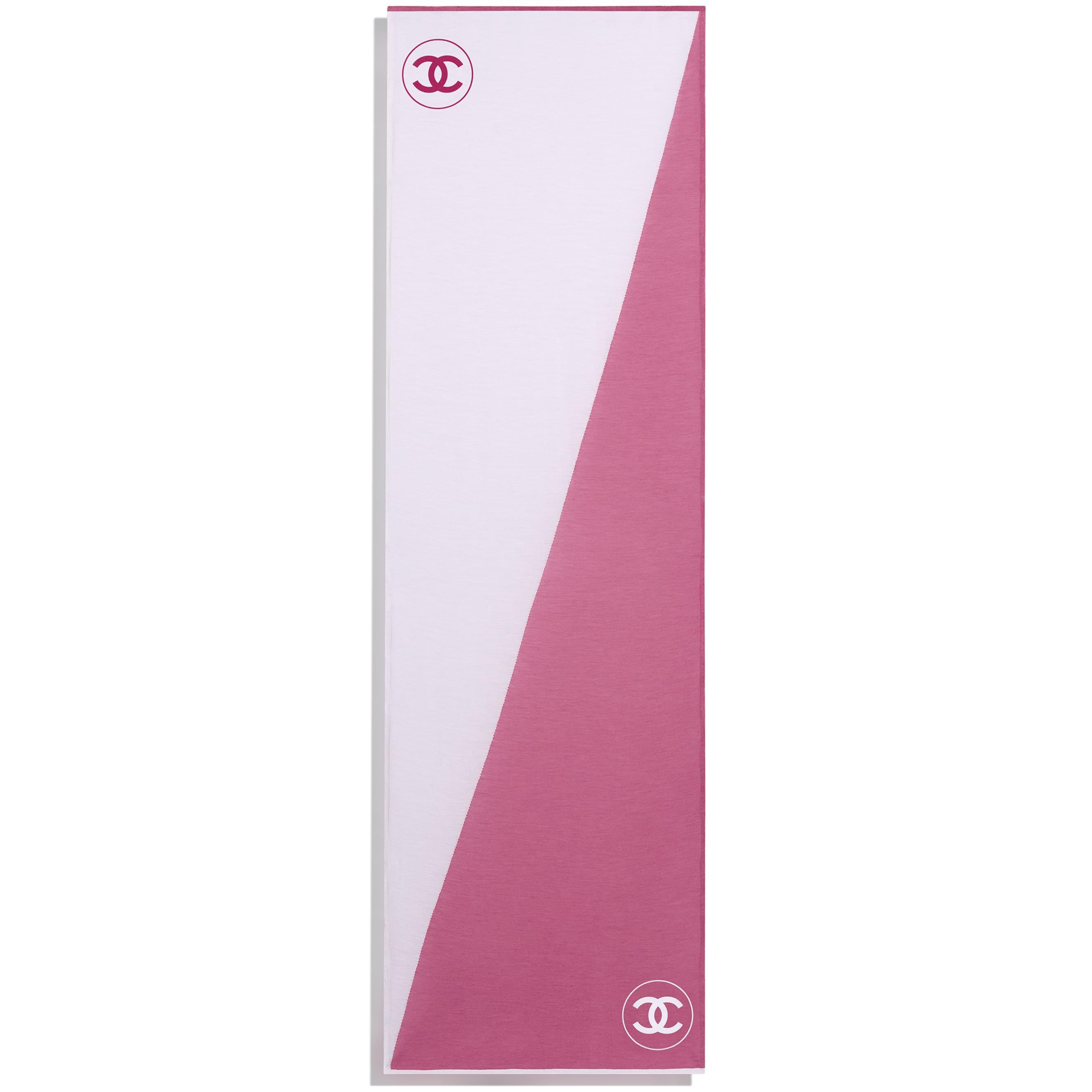 Палантин - Розовый и белый - Шерсть - CHANEL - Другое изображение - посмотреть изображение стандартного размера