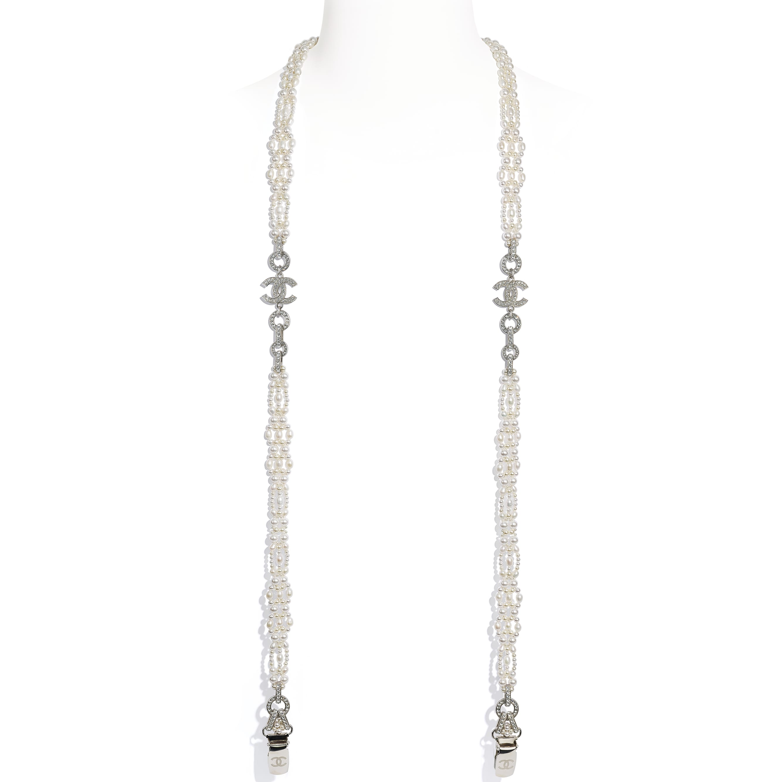 Suspenders - Silver, Pearly White, Black & Crystal - Metal, Cultured Freshwater Pearls, Glass Pearls, Lambskin & Strass - CHANEL - Alternative view - see standard sized version