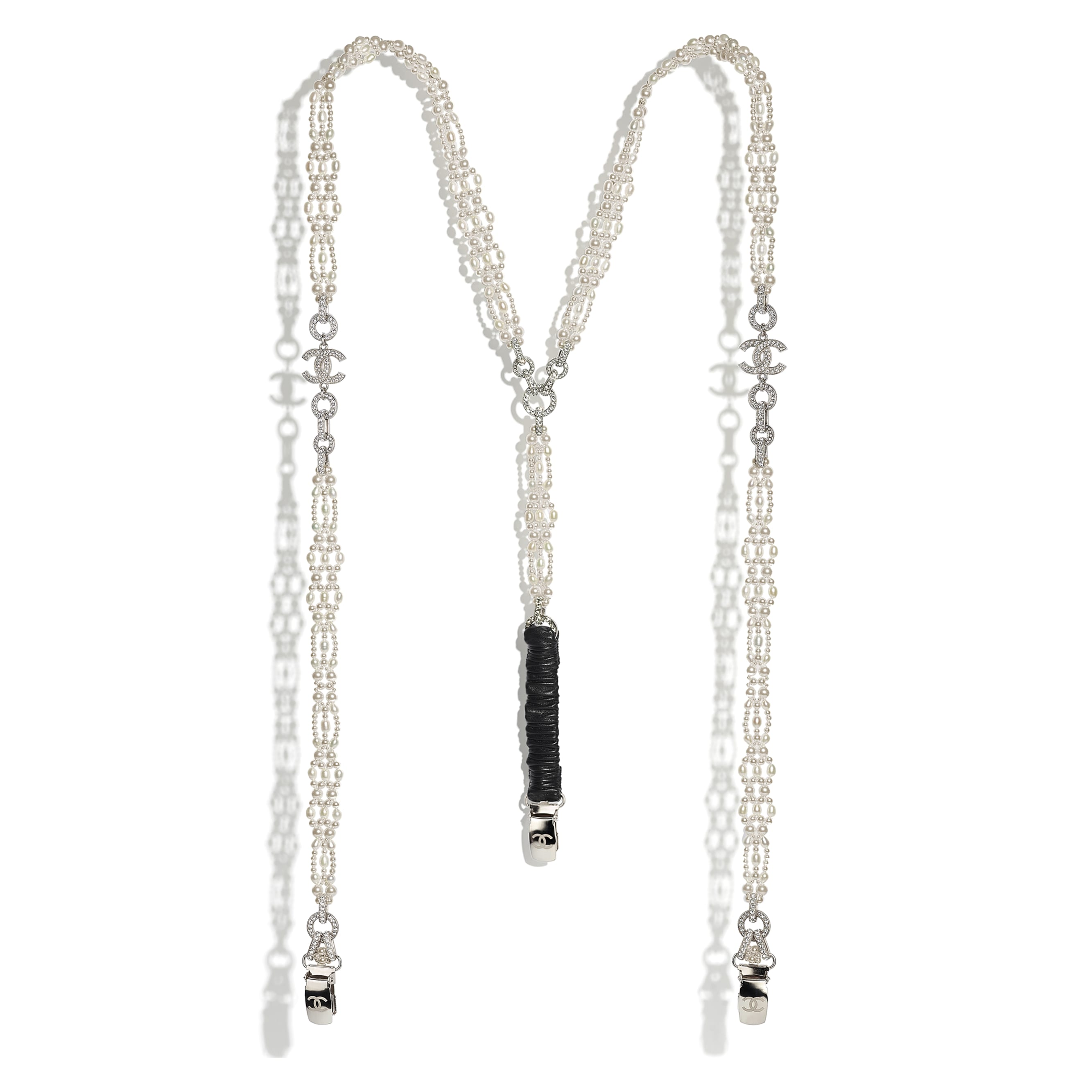 Suspenders - Silver, Pearly White, Black & Crystal - Metal, Cultured Freshwater Pearls, Glass Pearls, Lambskin & Strass - CHANEL - Default view - see standard sized version
