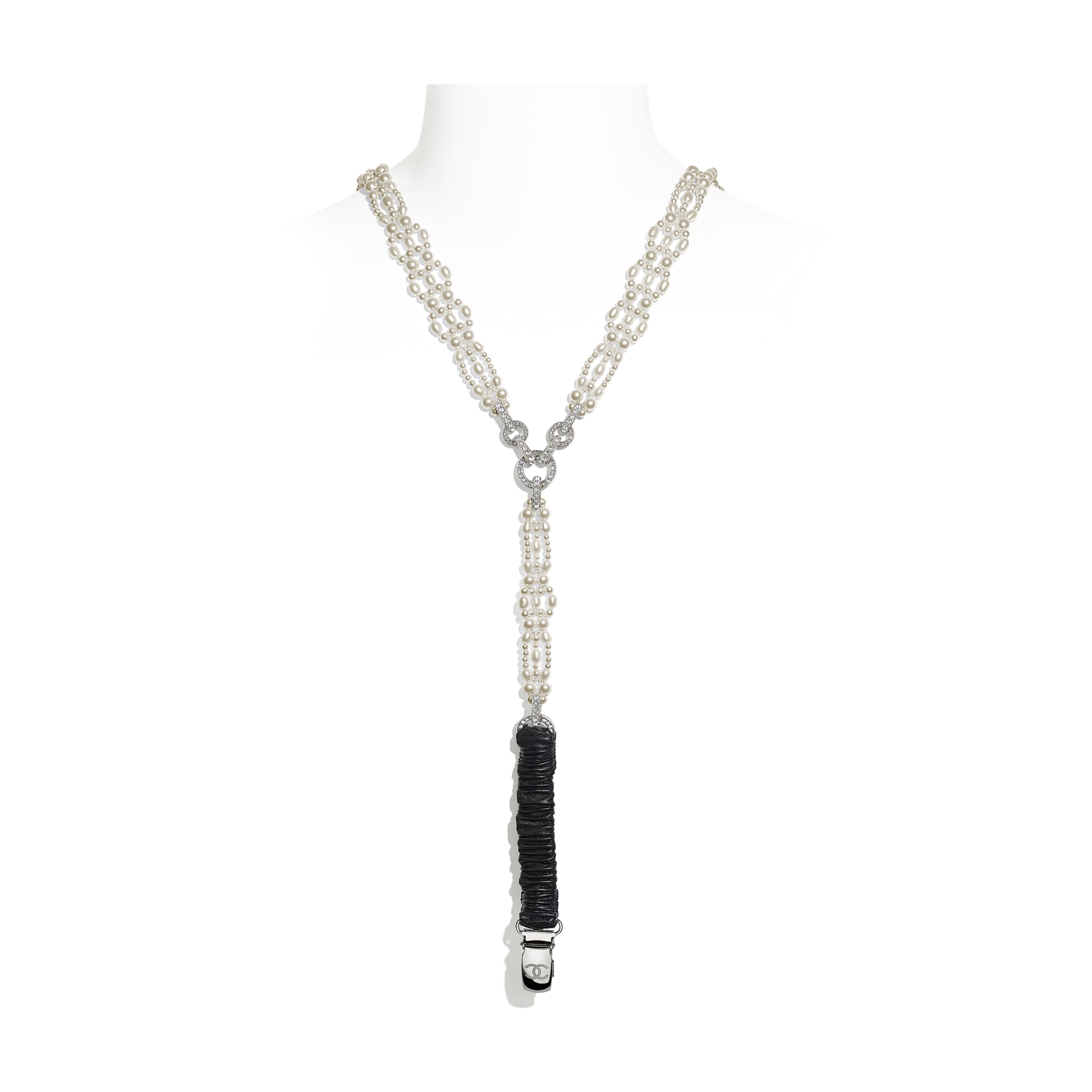 Suspenders - Silver, Pearly White, Black & Crystal - Metal, Cultured Freshwater Pearls, Glass Pearls, Lambskin & Strass - CHANEL - Other view - see standard sized version