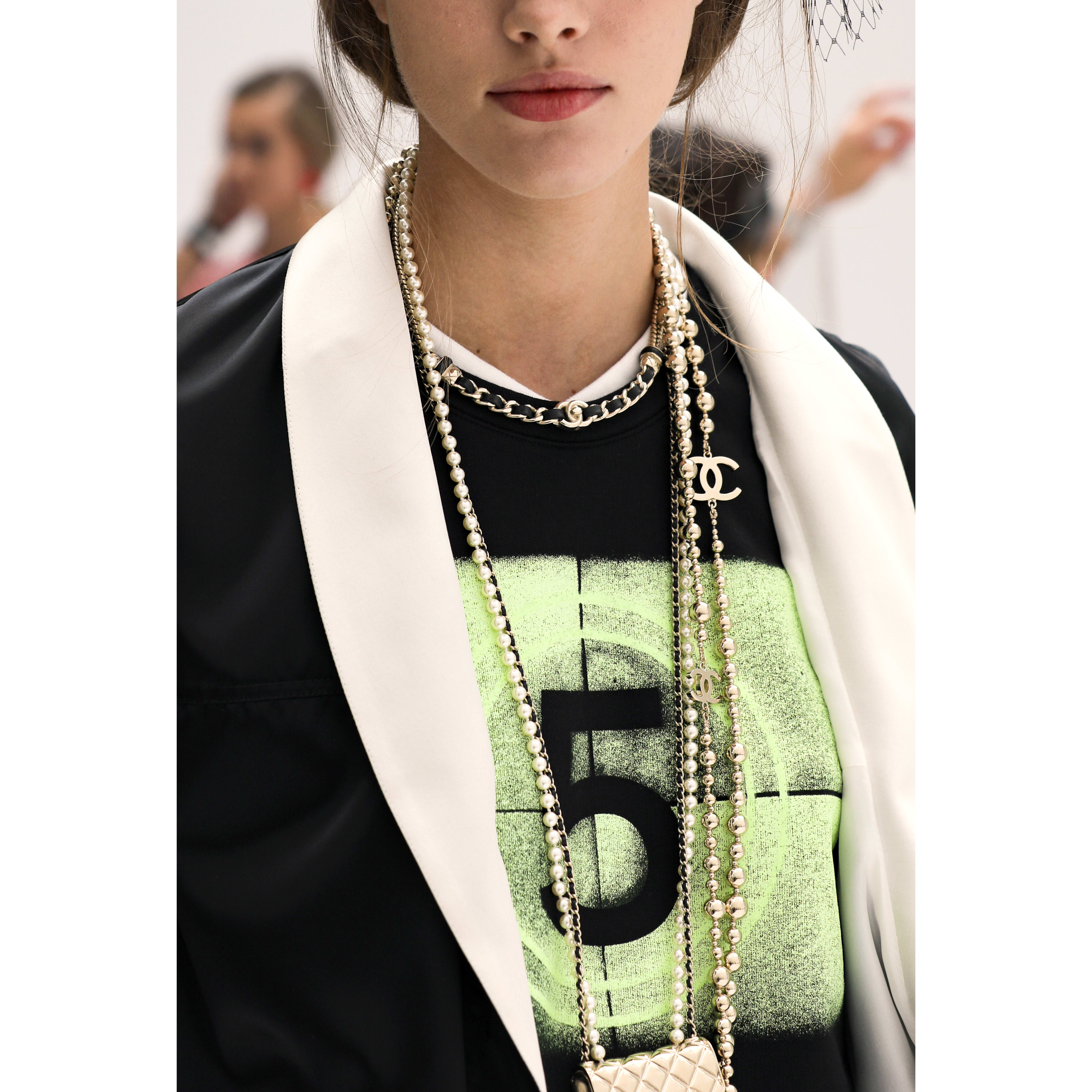 Top - Black, Neon Green & White - Cotton - CHANEL - Alternative view - see standard sized version
