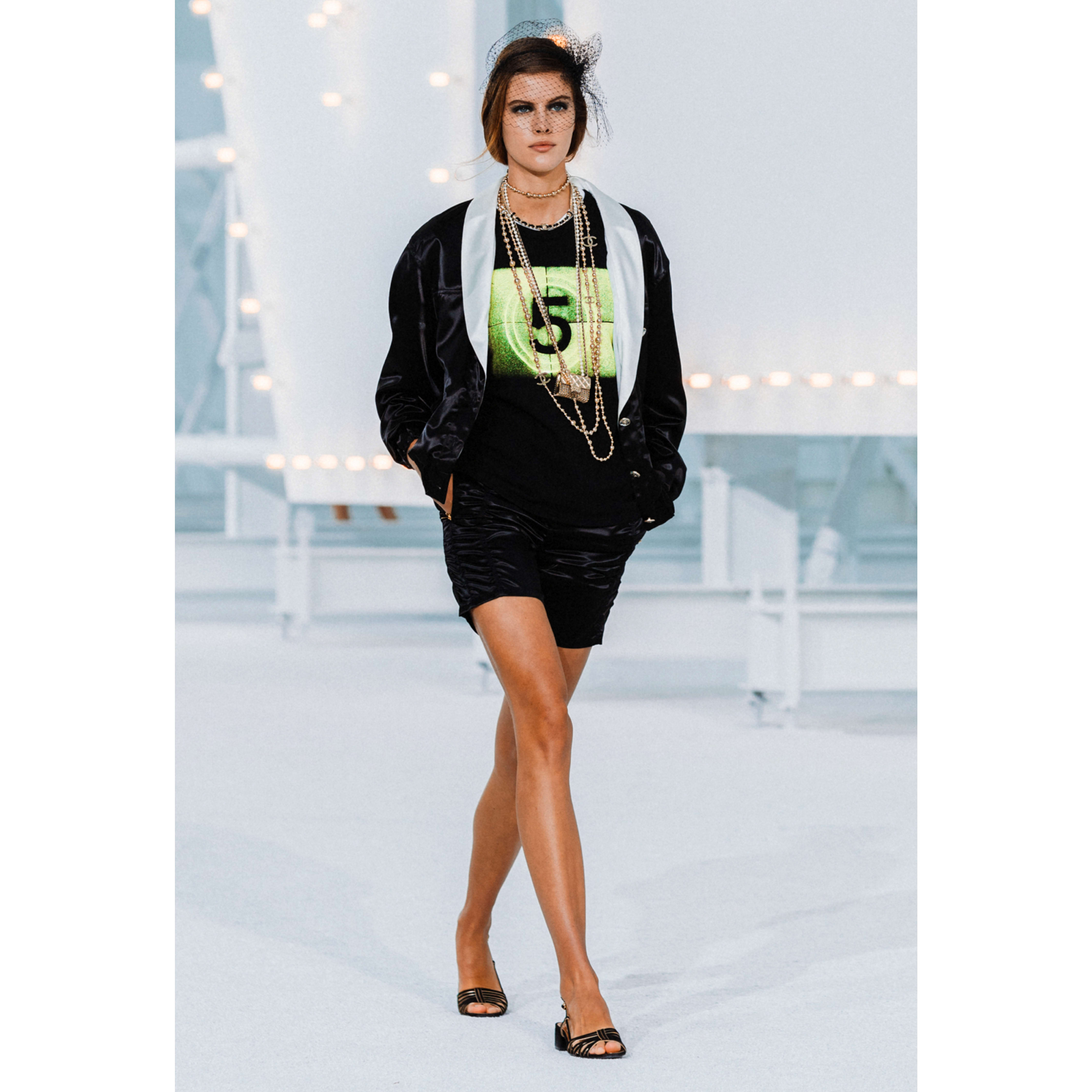 Top - Black, Neon Green & White - Cotton - CHANEL - Default view - see standard sized version