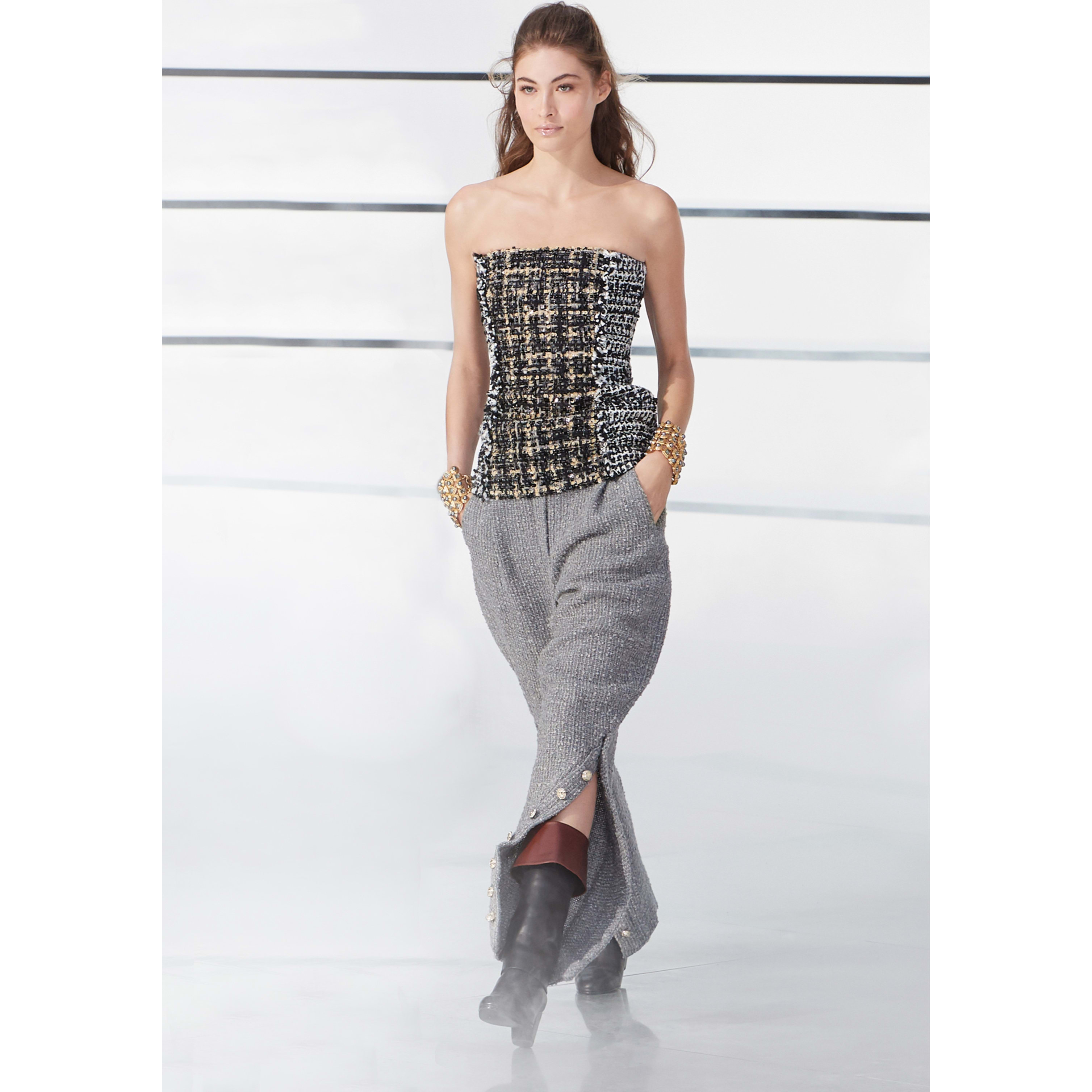 Top - White, Black & Gray - Embroidered Tweed - CHANEL - Default view - see standard sized version
