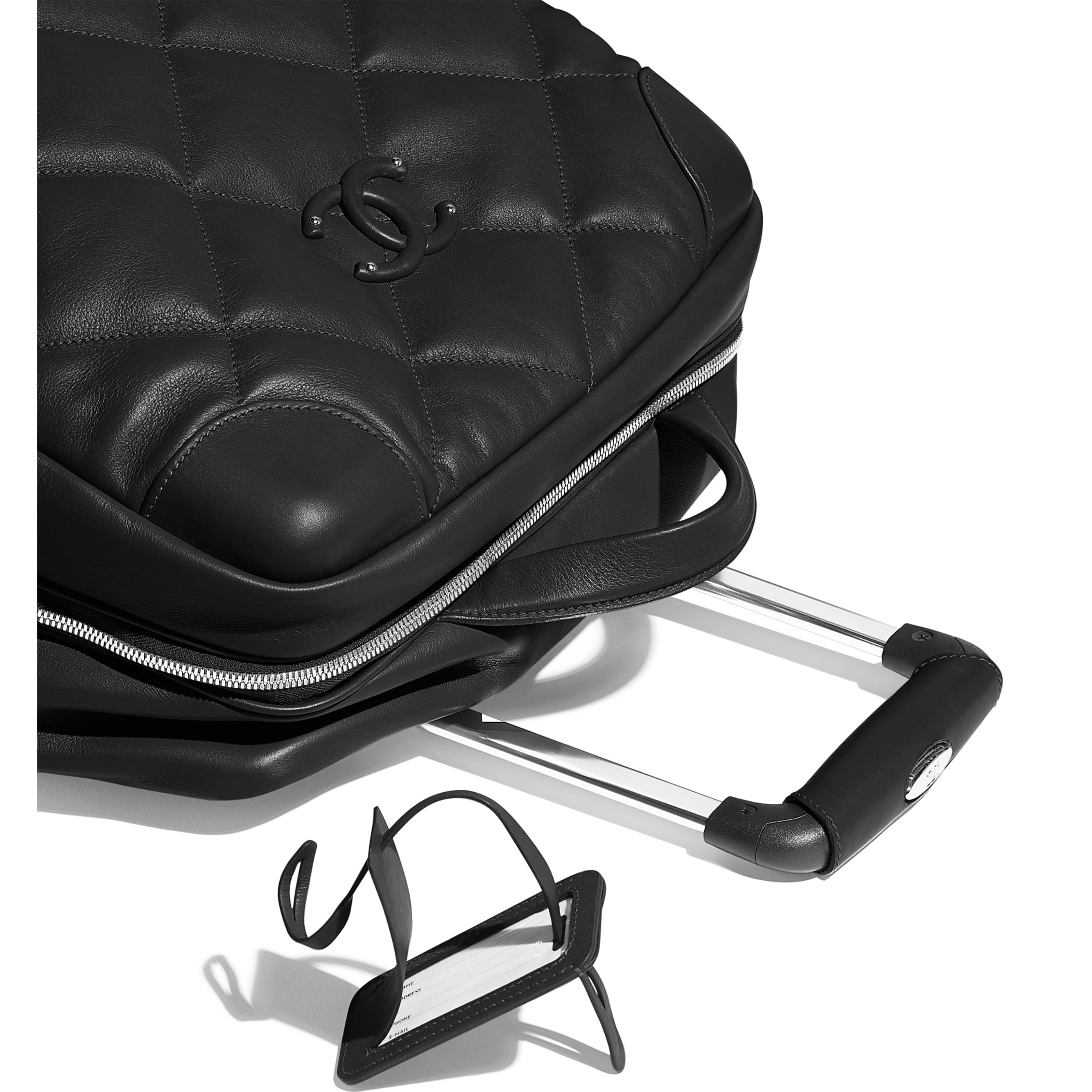 Trolley - Black - Calfskin & Silver-Tone Metal - CHANEL - Extra view - see standard sized version