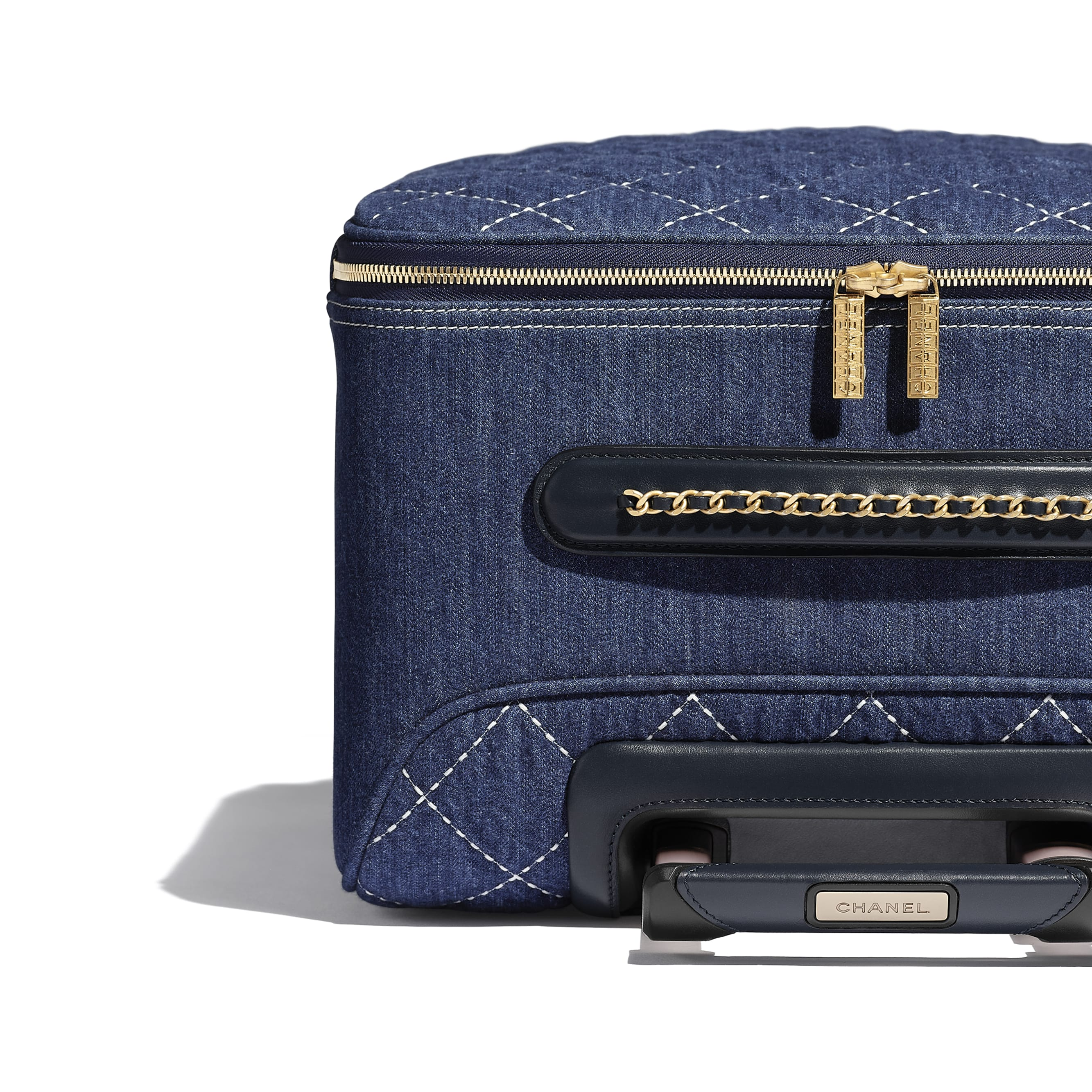 Trolley - Blue - Denim & Gold Metal - Extra view - see standard sized version