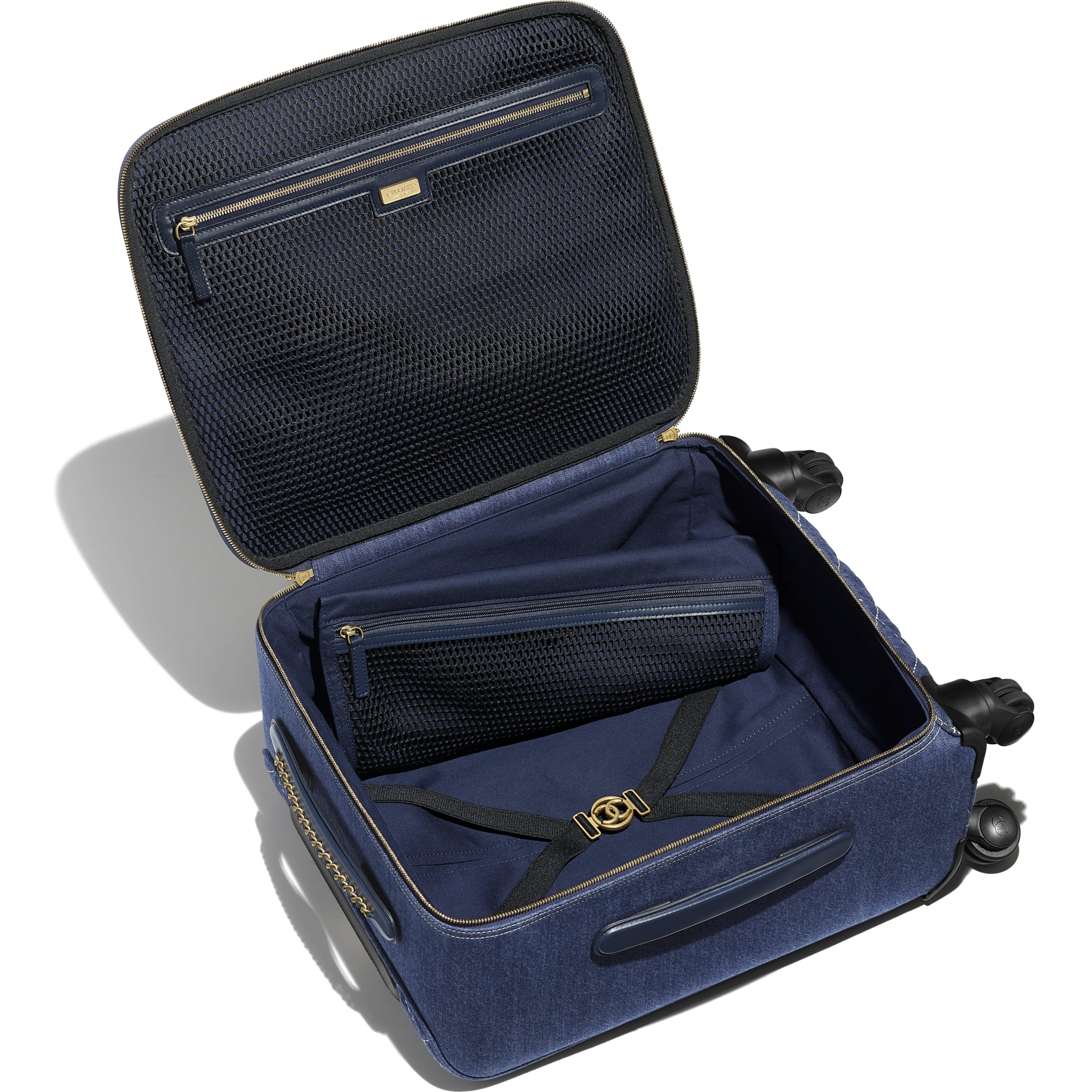 Trolley - Blue - Denim & Gold Metal - Other view - see standard sized version