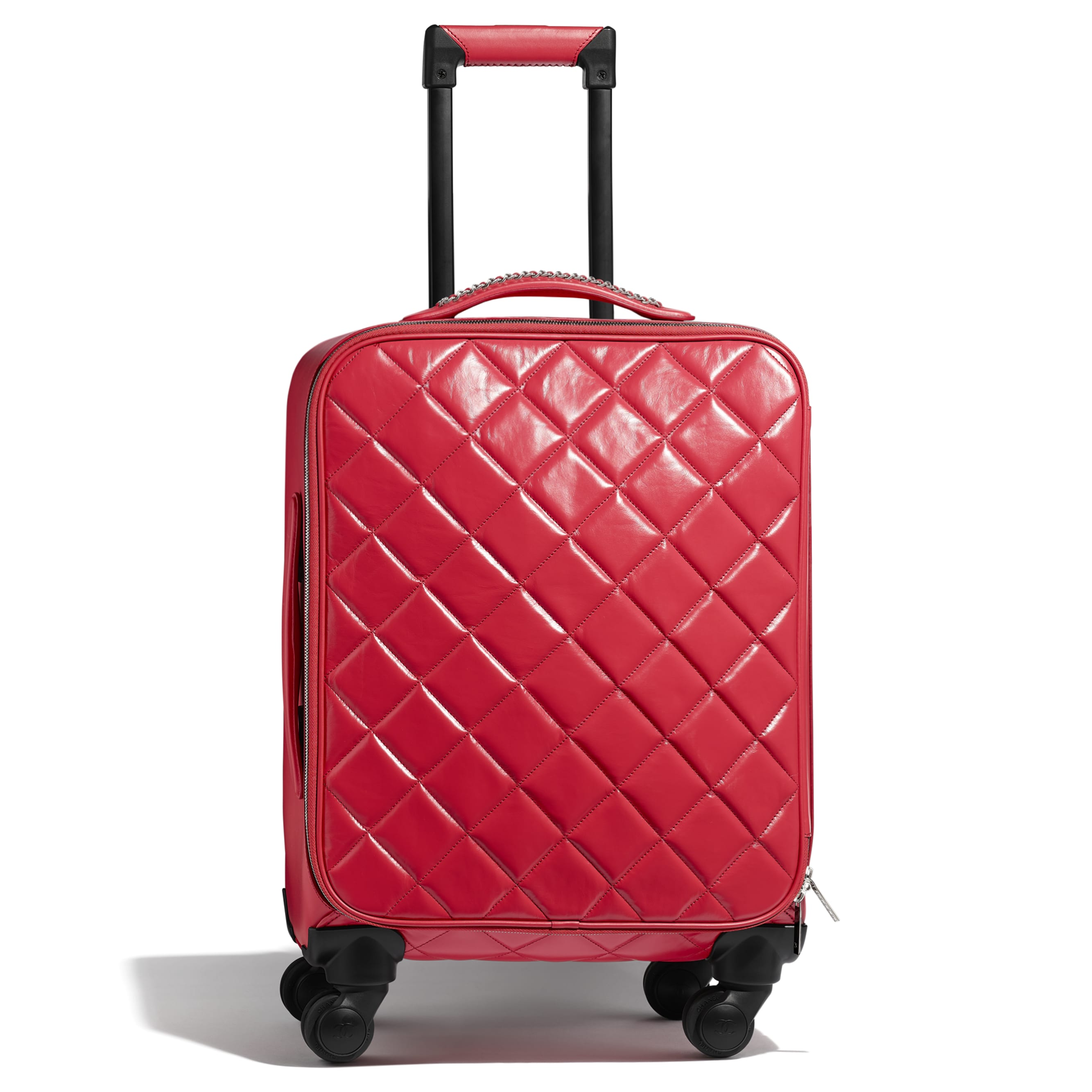 Trolley - Red - Calfskin & Silver-Tone Metal - Default view - see standard sized version