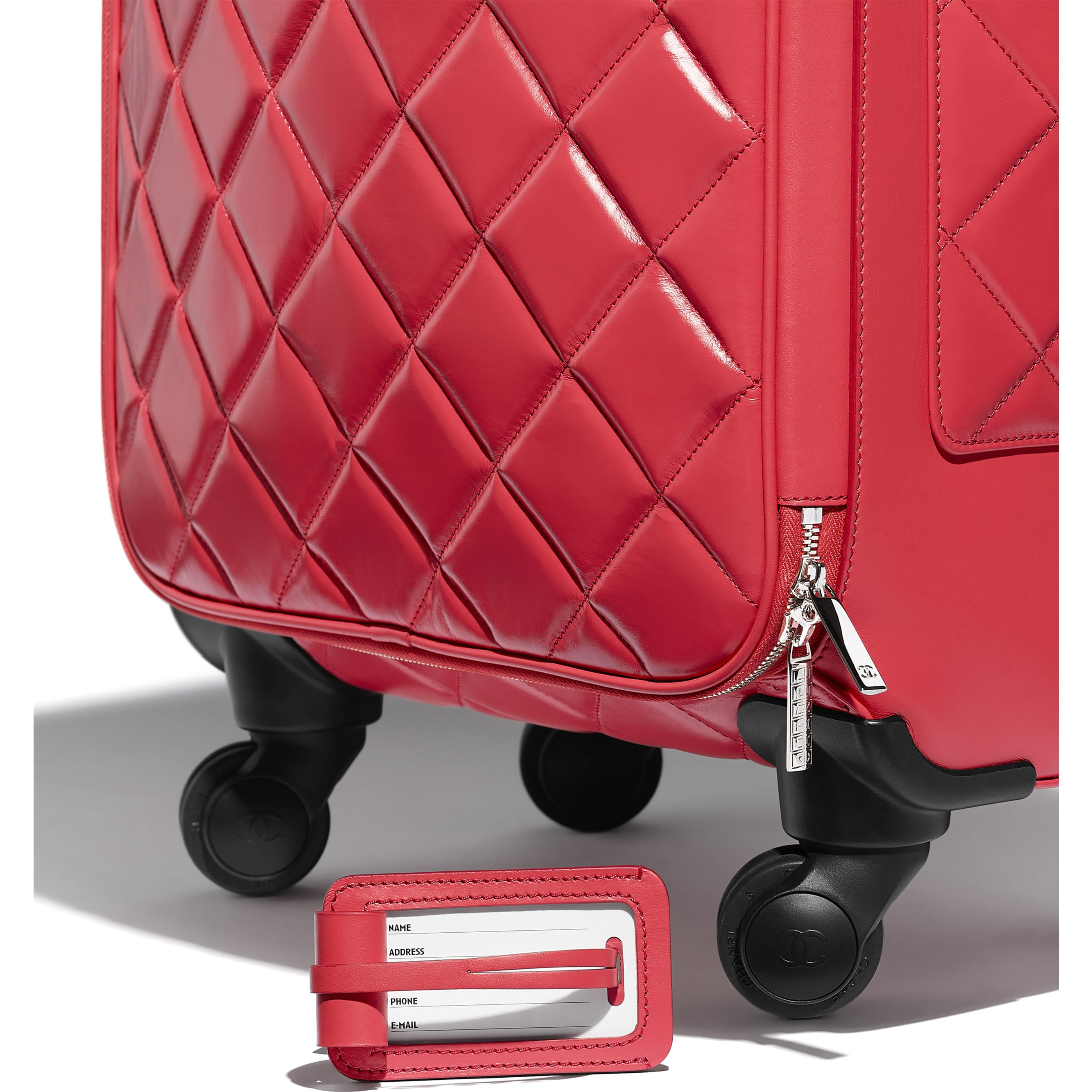 Trolley - Red - Calfskin & Silver-Tone Metal - Extra view - see standard sized version