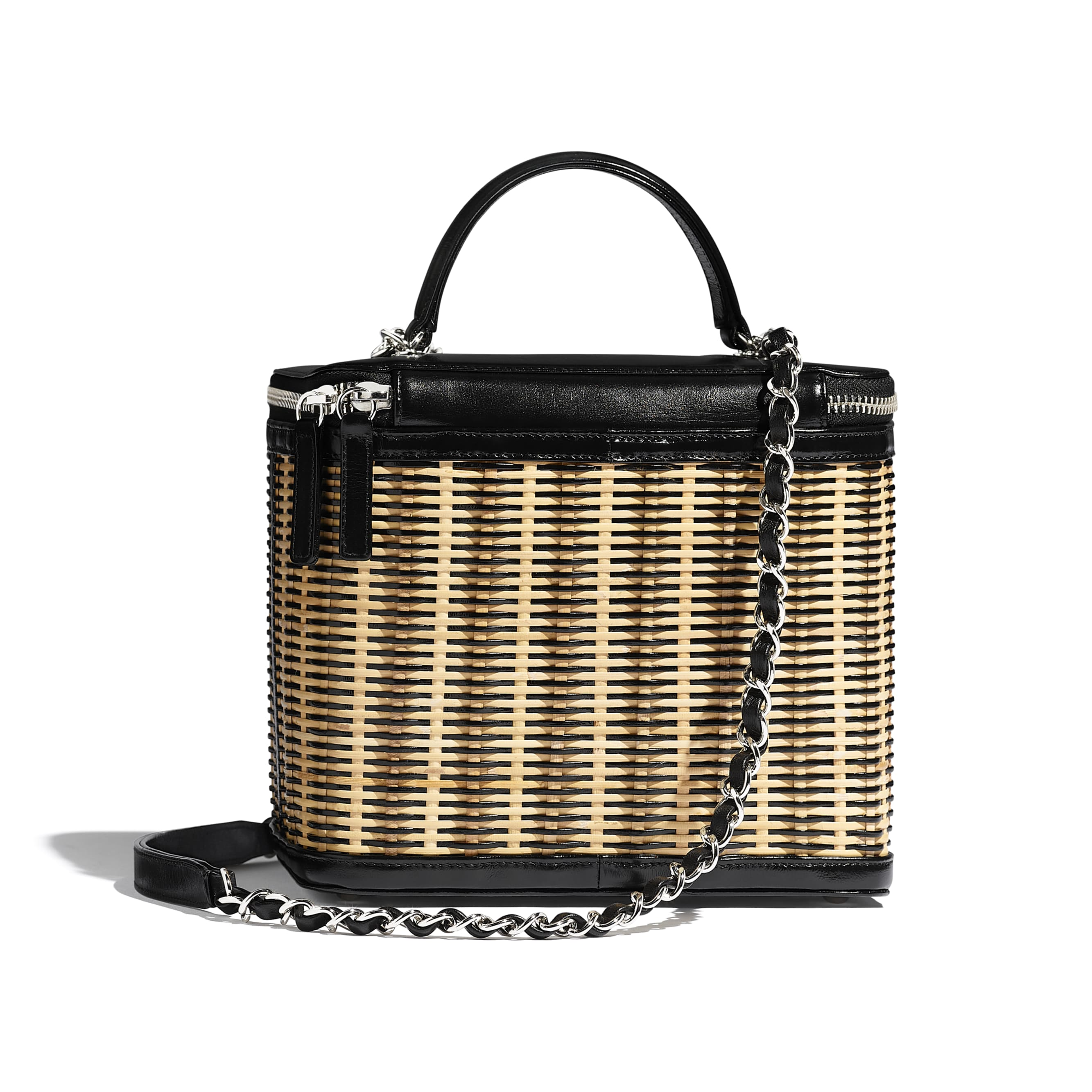 Vanity Case - Beige & Black - Rattan, Calfskin & Silver-Tone Metal - CHANEL - Alternative view - see standard sized version