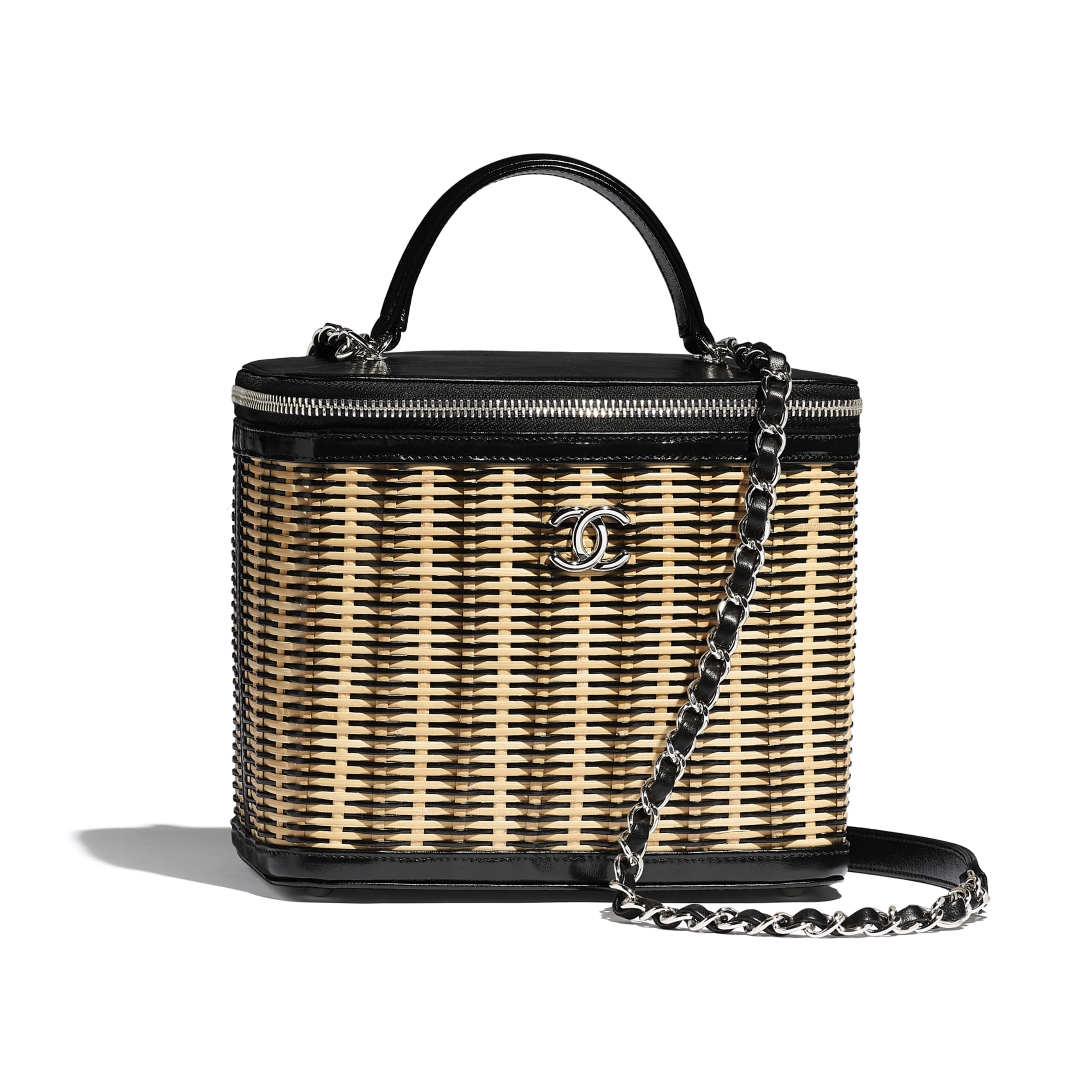 Vanity Case - Beige & Black - Rattan, Calfskin & Silver-Tone Metal - CHANEL - Default view - see standard sized version
