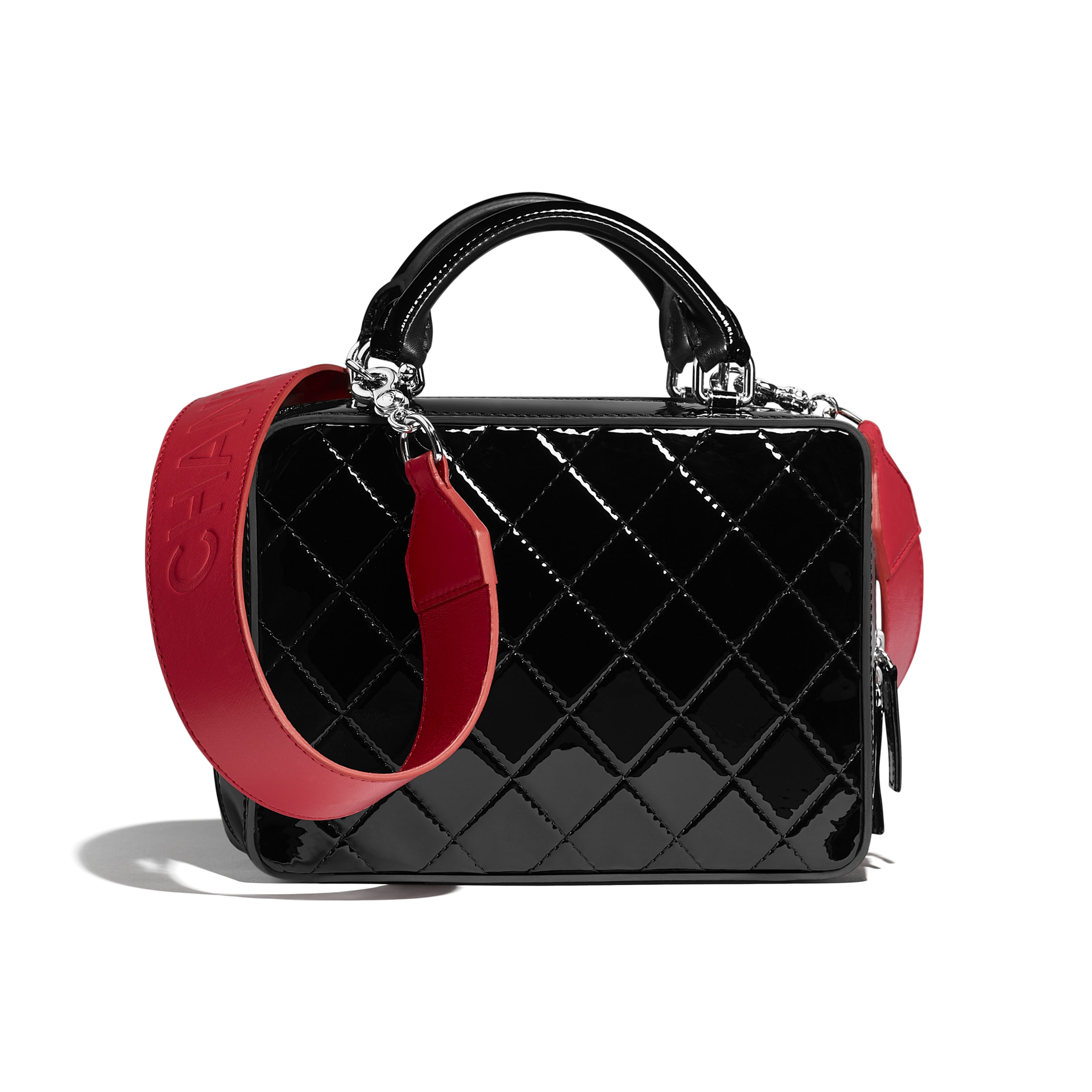 Vanity Case - Black & Red - Patent Calfskin, Calfskin & Silver-Tone Metal - Alternative view - see standard sized version