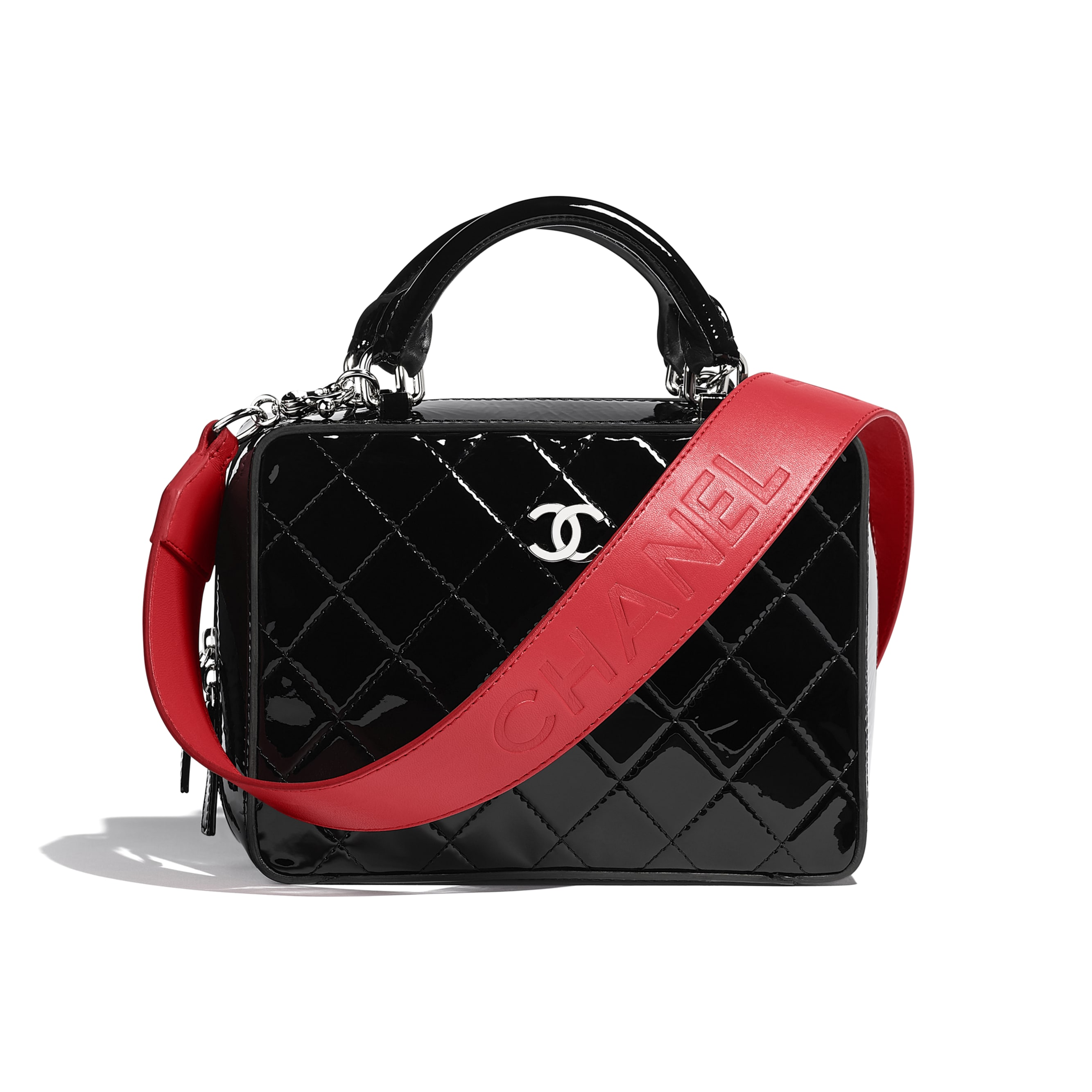 Vanity Case - Black & Red - Patent Calfskin, Calfskin & Silver-Tone Metal - Default view - see standard sized version