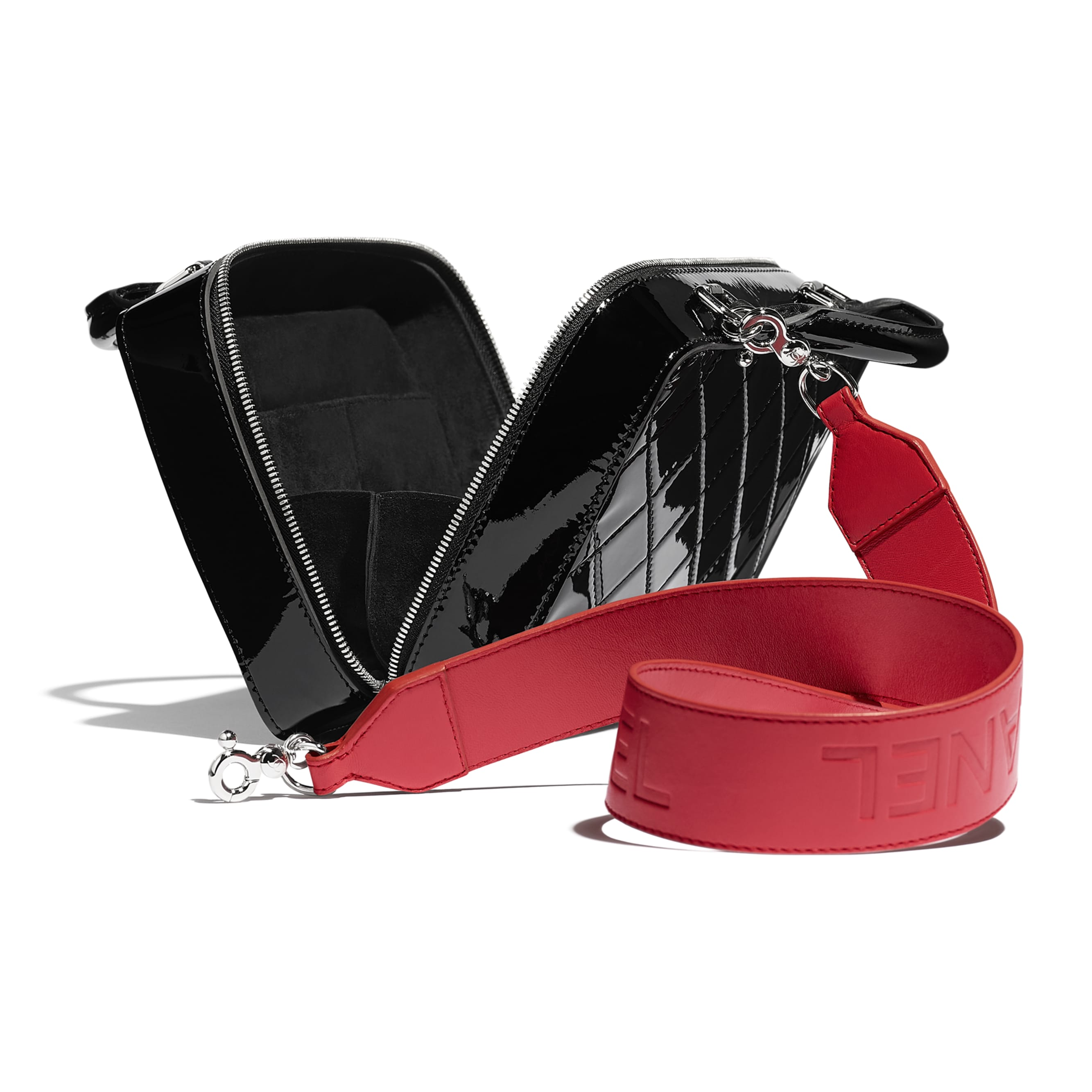 Vanity Case - Black & Red - Patent Calfskin, Calfskin & Silver-Tone Metal - Other view - see standard sized version
