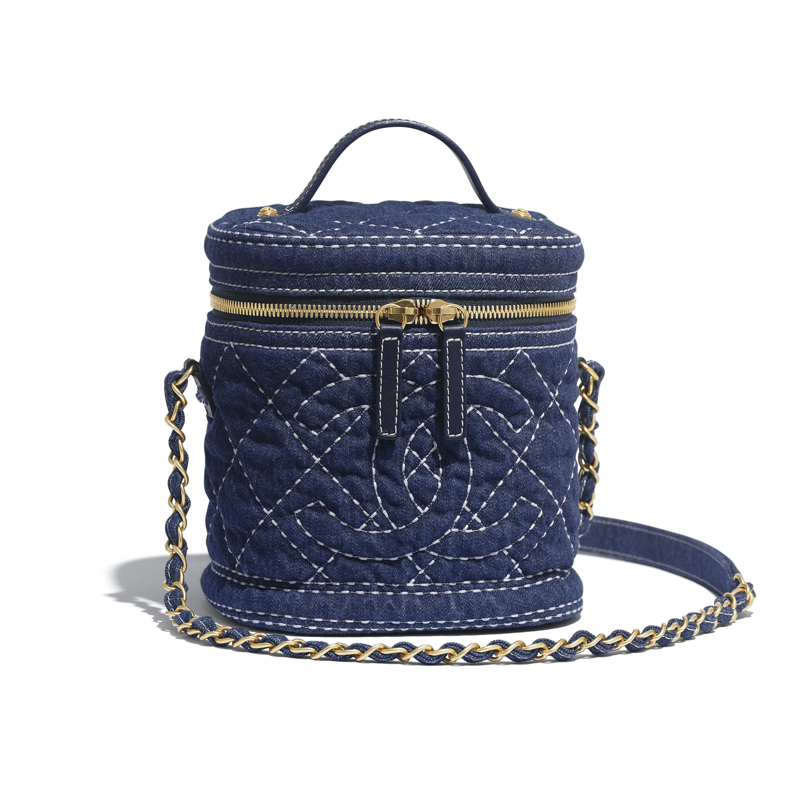 Vanity Case - Blue - Denim & Gold Metal - Default view - see standard sized version