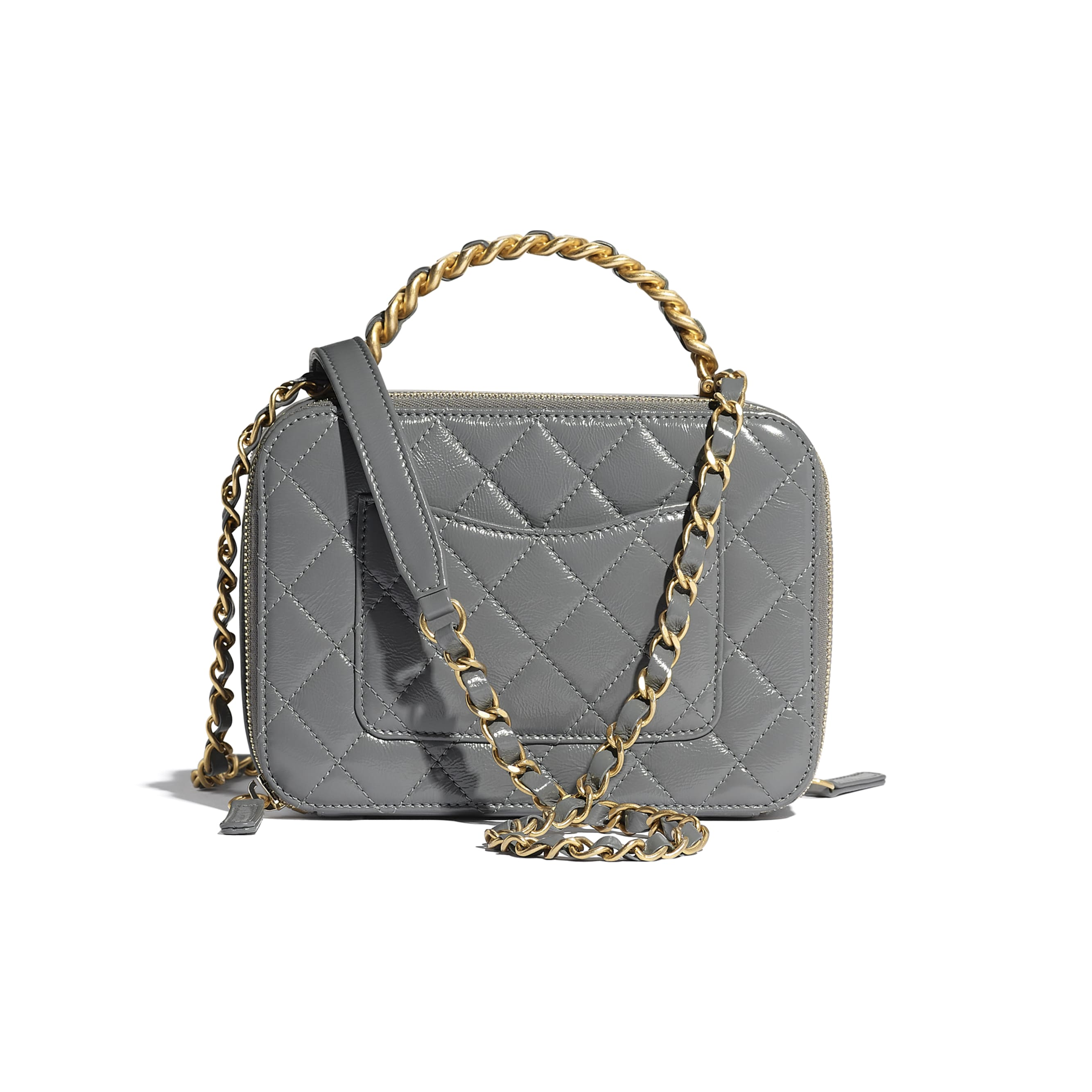 Vanity Case - Grey - Lambskin, Shiny Crumpled Calfskin & Gold-Tone Metal - CHANEL - Alternative view - see standard sized version