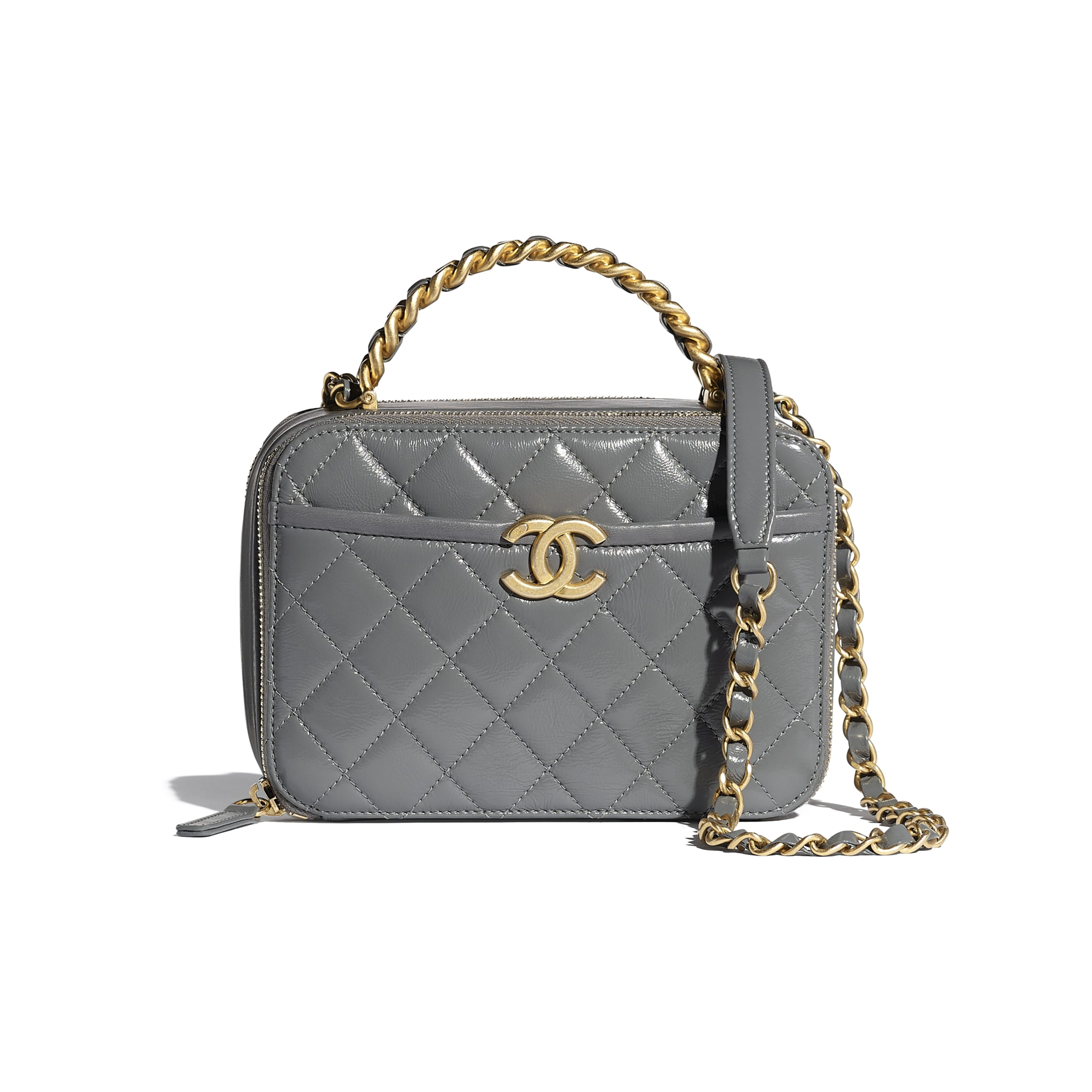 Vanity Case - Grey - Lambskin, Shiny Crumpled Calfskin & Gold-Tone Metal - CHANEL - Default view - see standard sized version