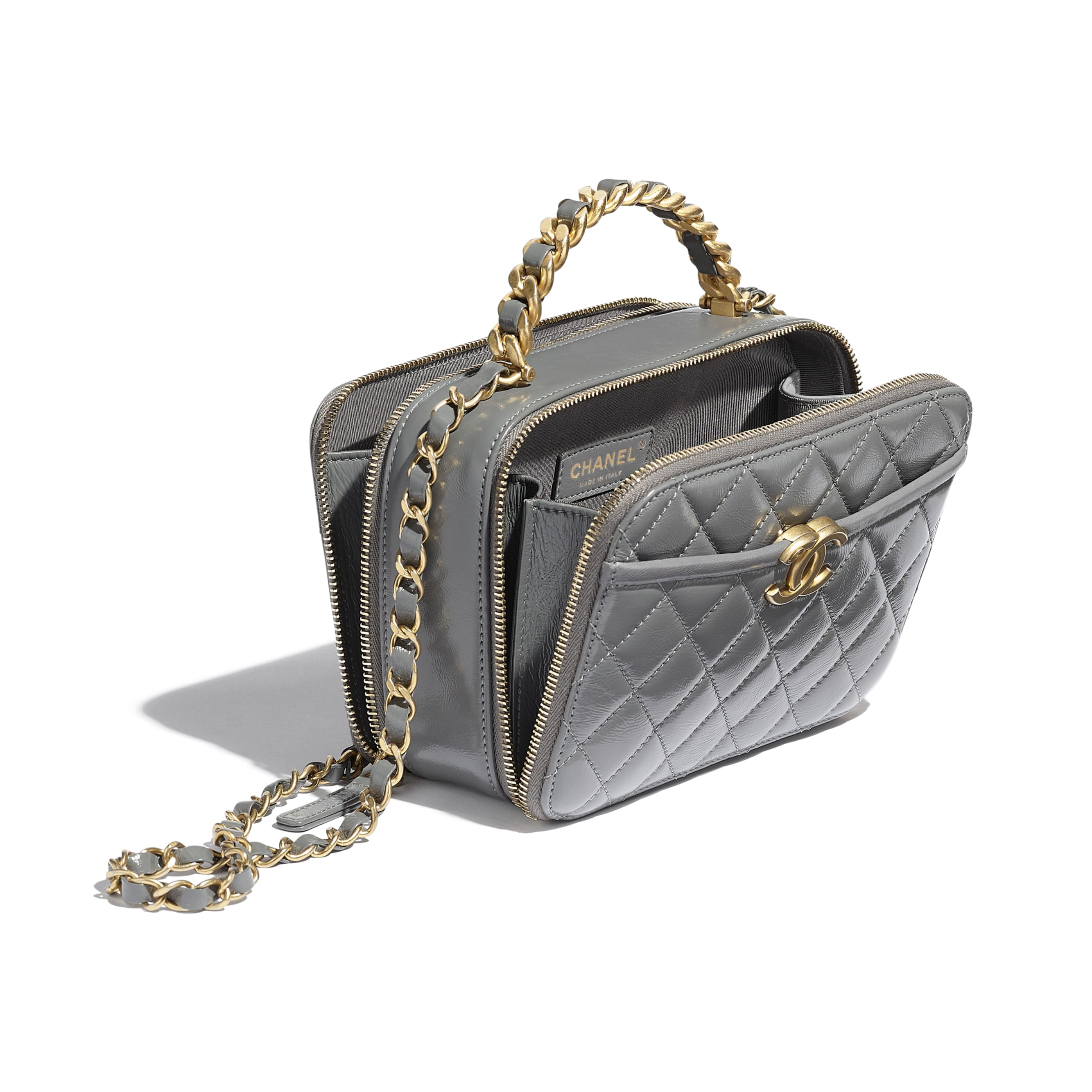 Vanity Case - Grey - Lambskin, Shiny Crumpled Calfskin & Gold-Tone Metal - CHANEL - Other view - see standard sized version