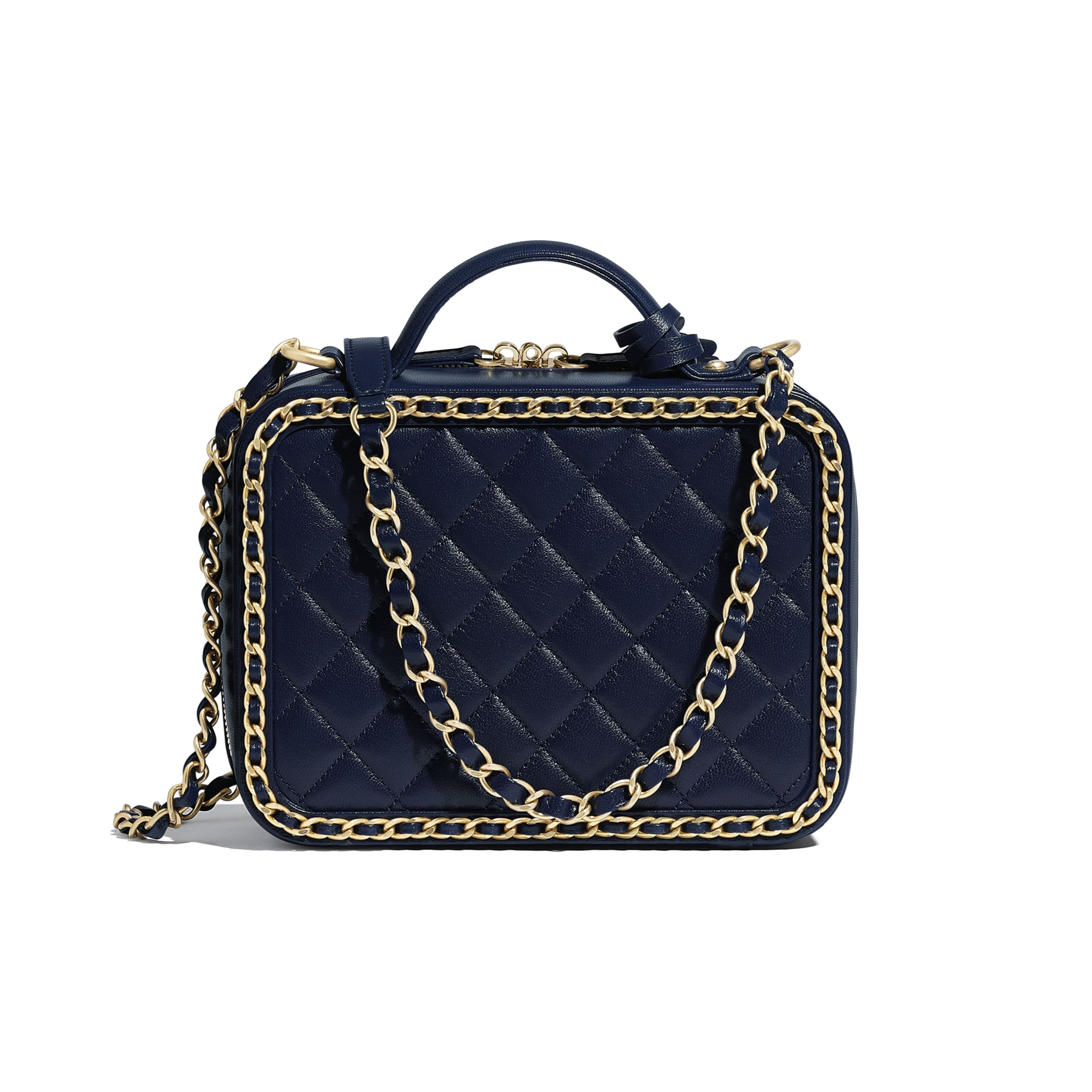 Vanity Case - Navy Blue - Goatskin & Gold-Tone Metal - Alternative view - see standard sized version