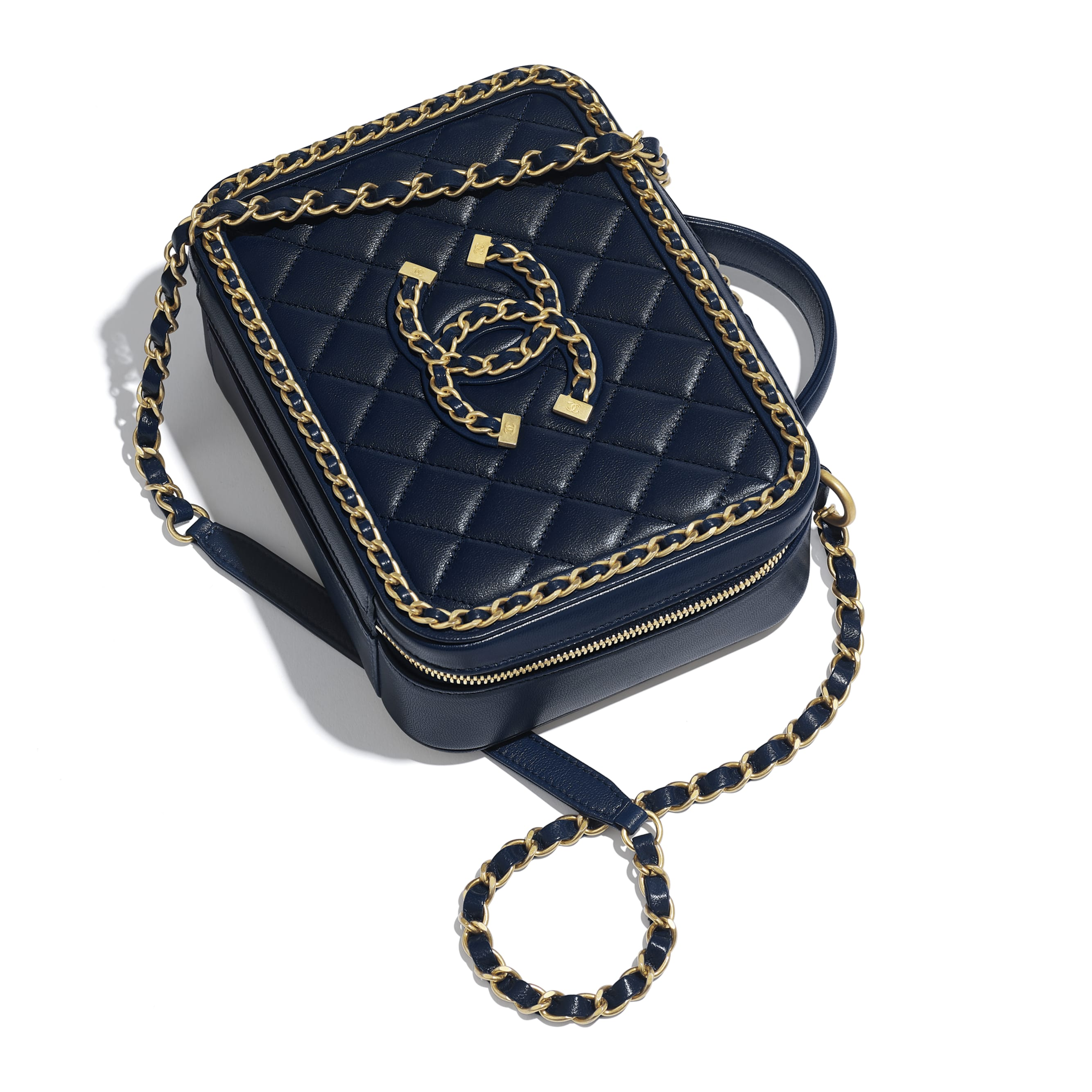 Vanity Case - Navy Blue - Goatskin & Gold-Tone Metal - Extra view - see standard sized version