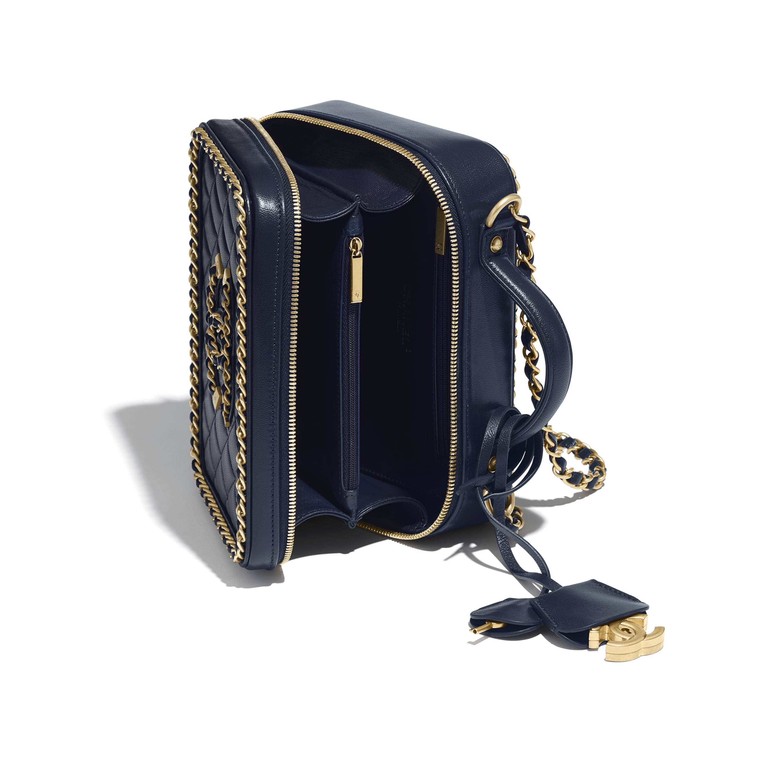 Vanity Case - Navy Blue - Goatskin & Gold-Tone Metal - Other view - see standard sized version
