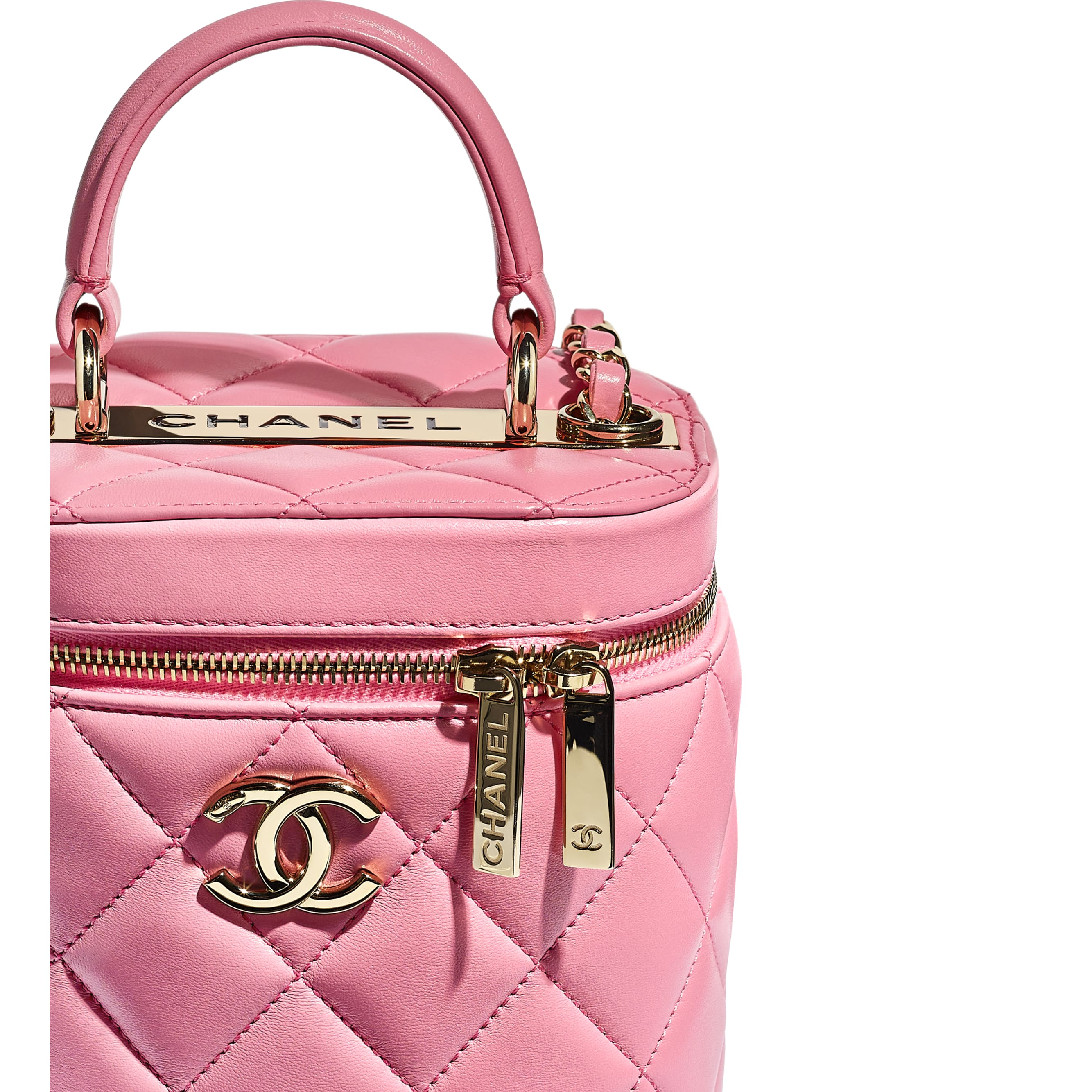 Vanity Case - Pale Pink - Lambskin - CHANEL - Extra view - see standard sized version