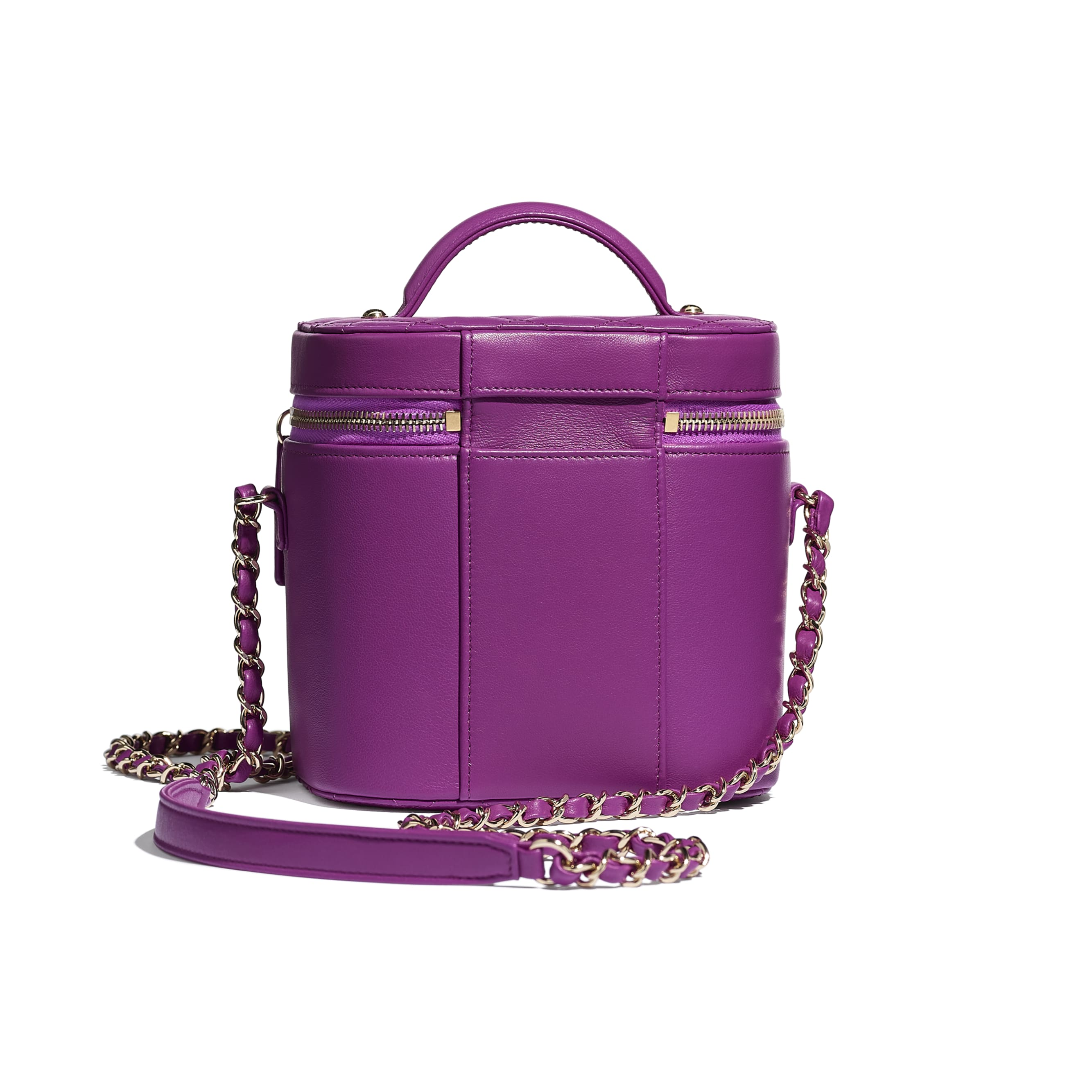 Vanity Case - Purple - Lambskin, Crystal, Calfskin & Gold-Tone Metal - CHANEL - Alternative view - see standard sized version