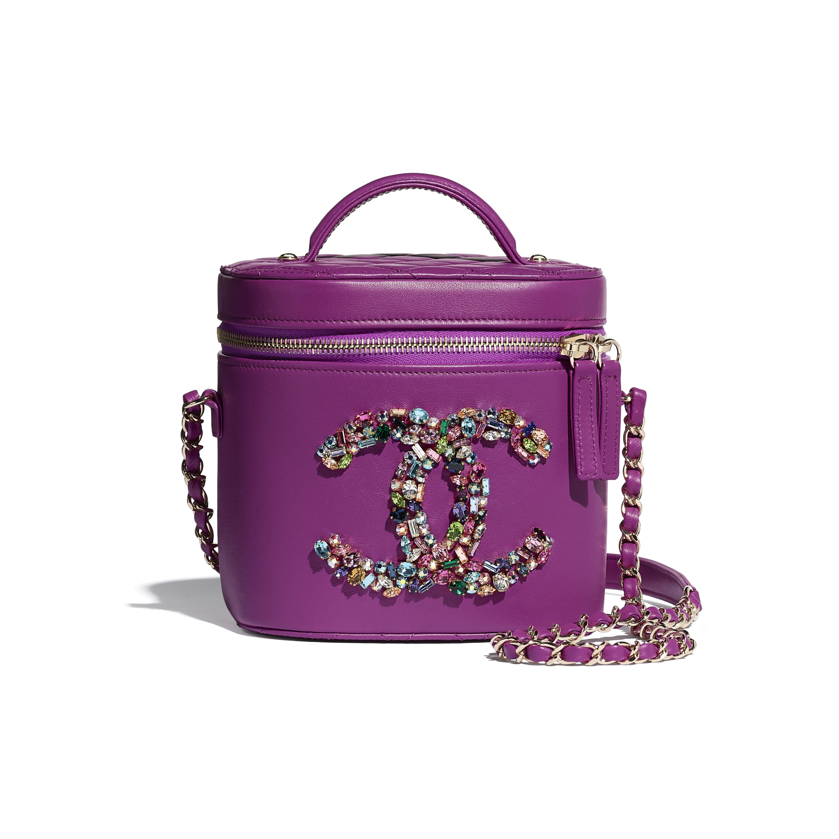 Vanity Case - Purple - Lambskin, Crystal, Calfskin & Gold-Tone Metal - CHANEL - Default view - see standard sized version