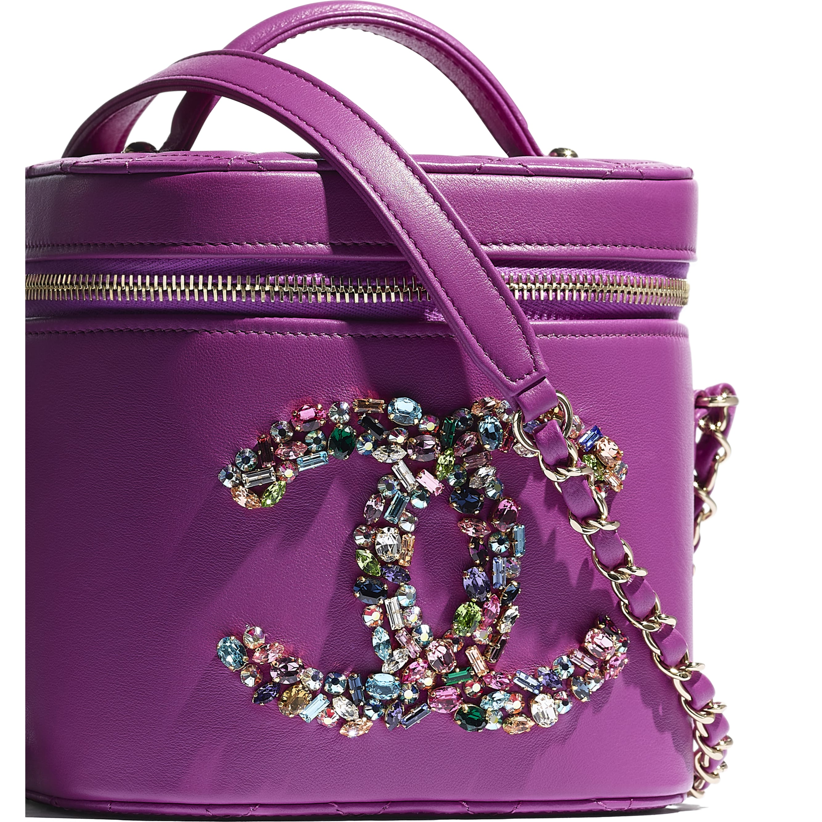 Vanity Case - Purple - Lambskin, Crystal, Calfskin & Gold-Tone Metal - CHANEL - Extra view - see standard sized version