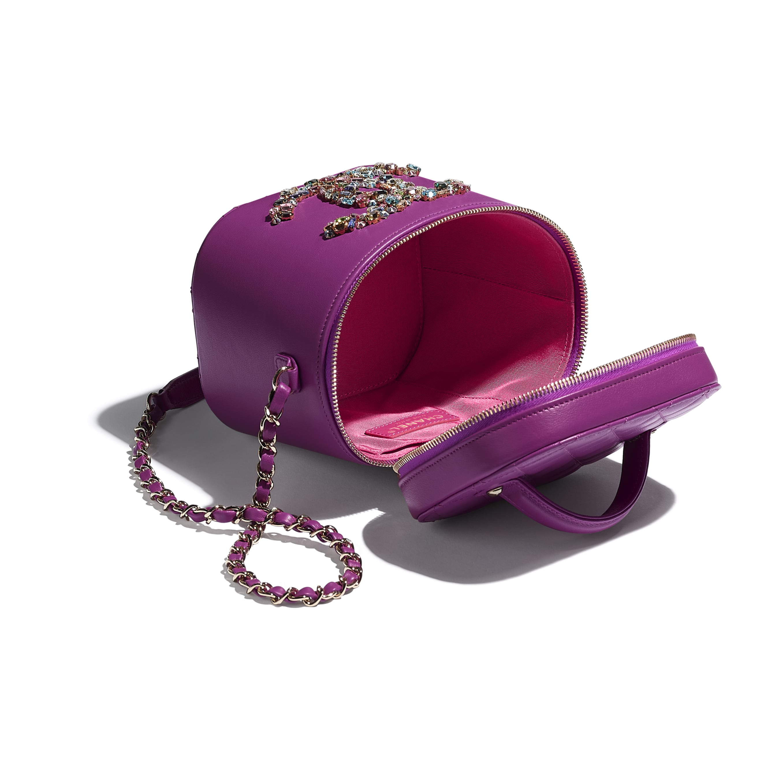 Vanity Case - Purple - Lambskin, Crystal, Calfskin & Gold-Tone Metal - CHANEL - Other view - see standard sized version
