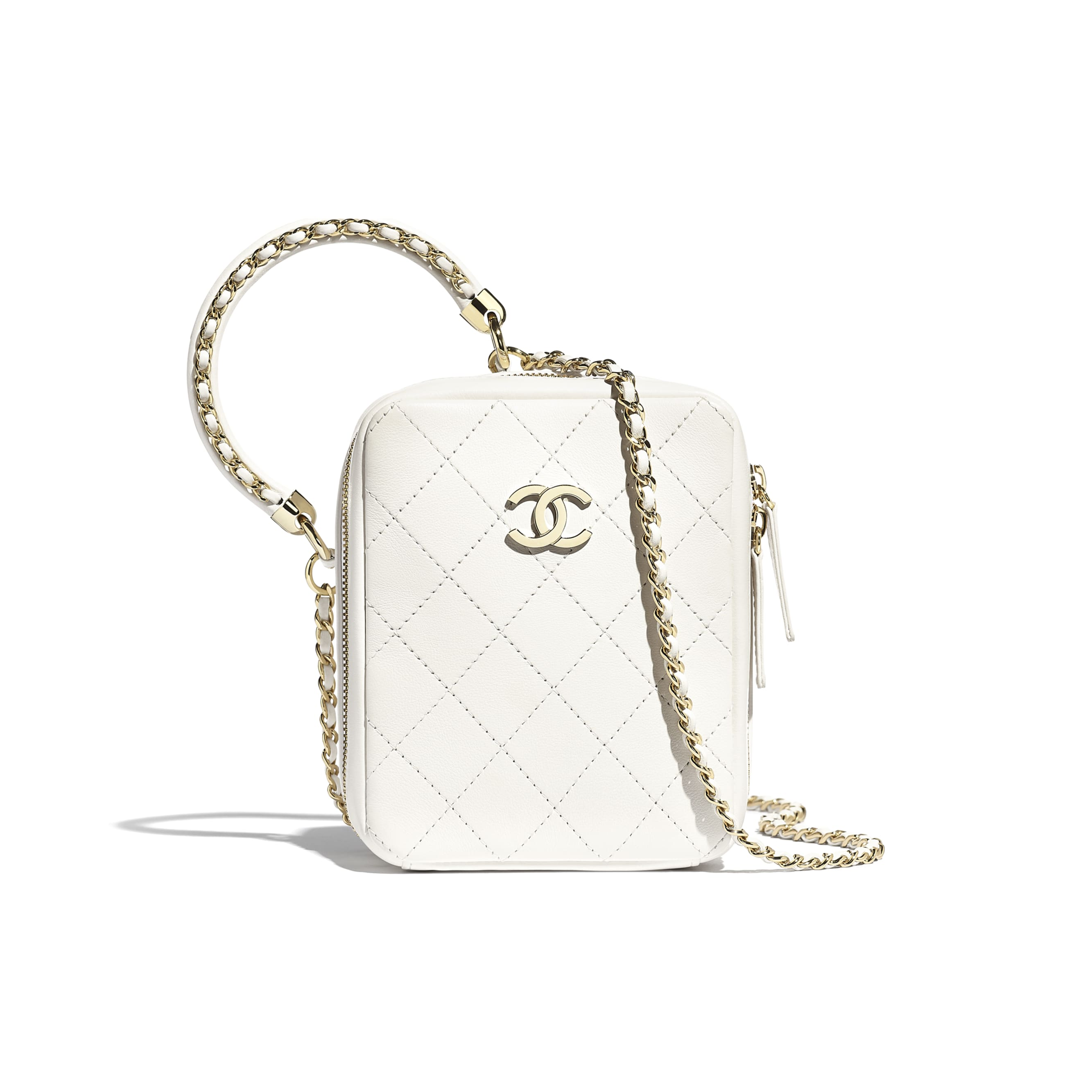 Vanity Case - White - Calfskin & Gold-Tone Metal - CHANEL - Default view - see standard sized version