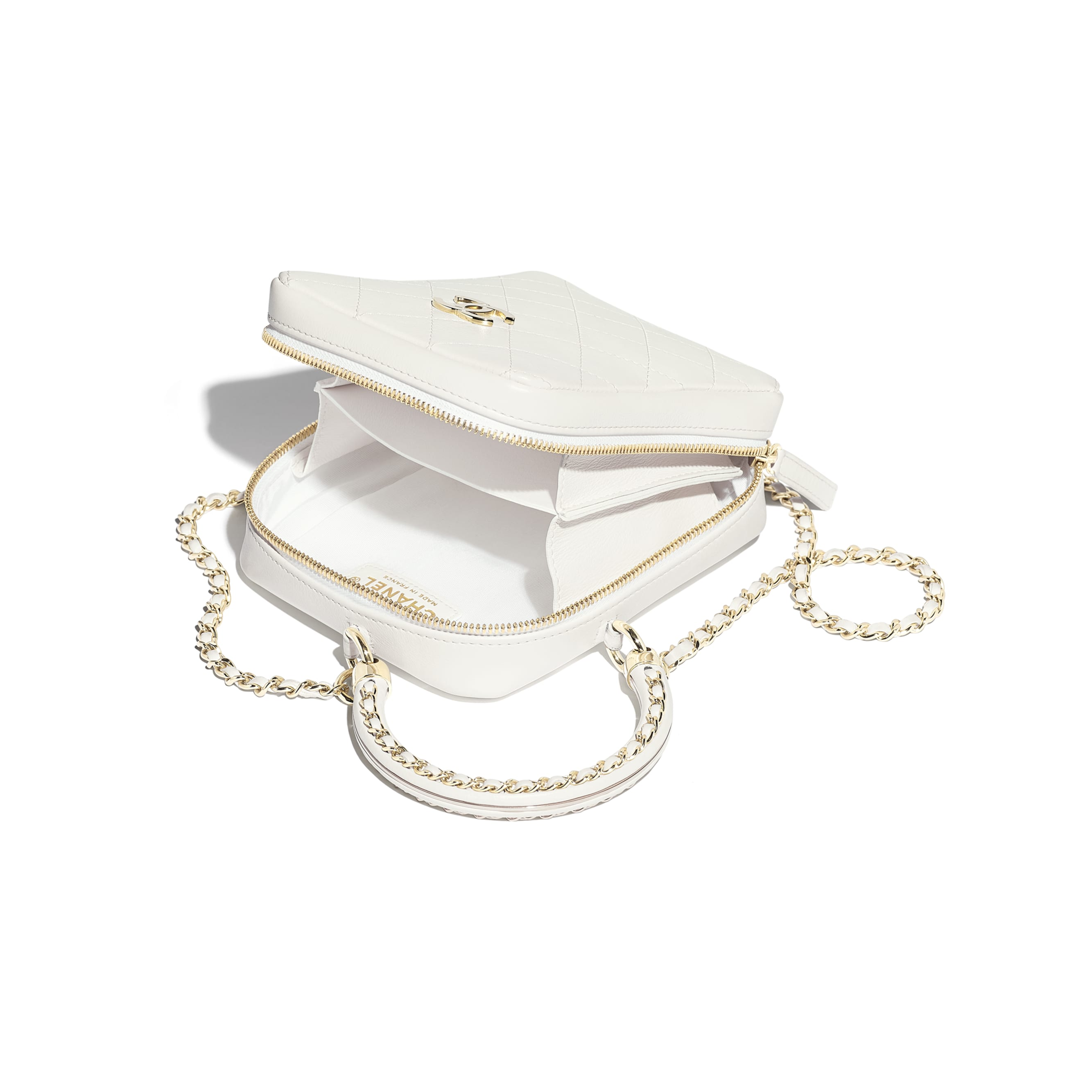 Vanity Case - White - Calfskin & Gold-Tone Metal - CHANEL - Other view - see standard sized version