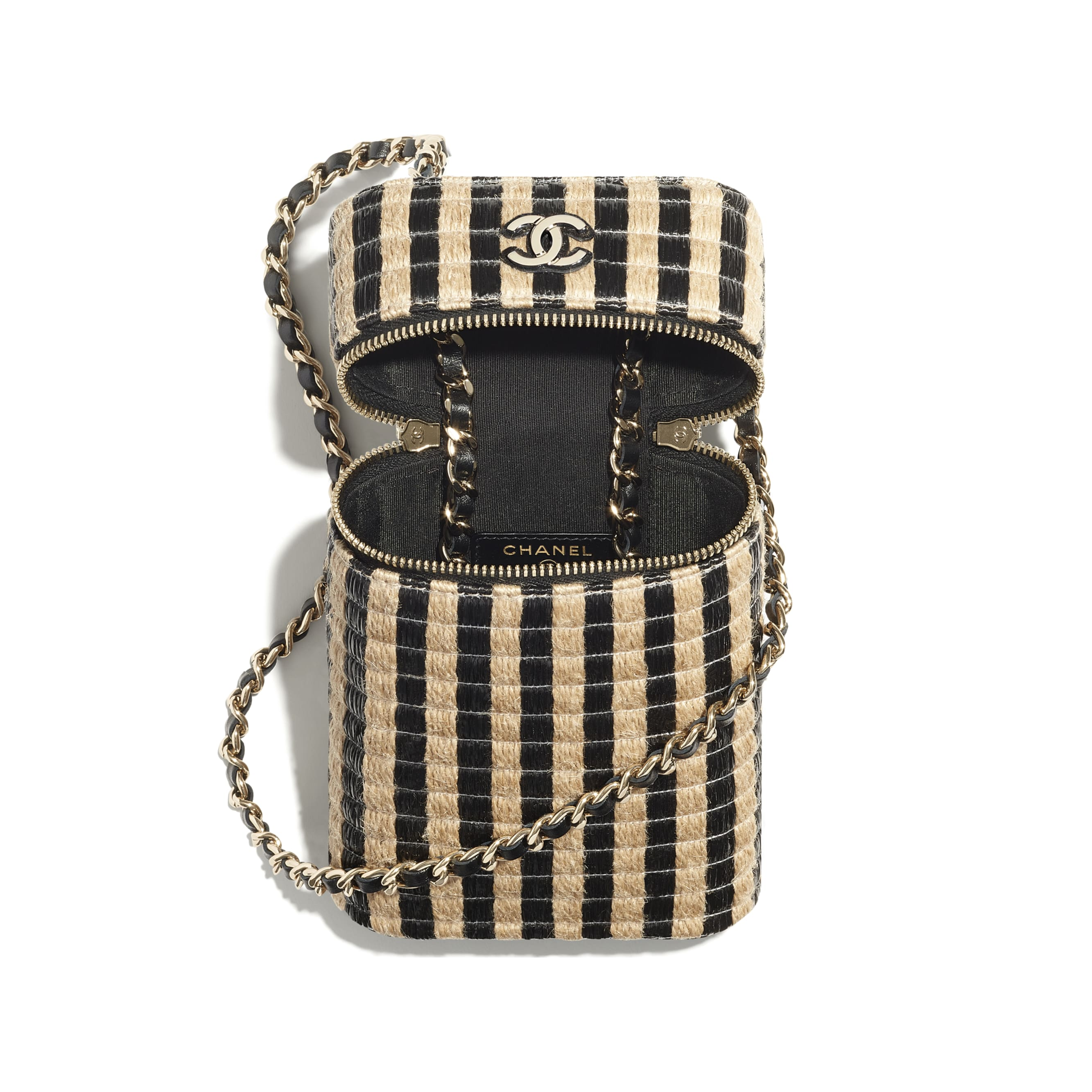 Vanity Phone Holder with Chain - Black & Beige - Raffia, Jute Thread & Gold-Tone Metal - CHANEL - Alternative view - see standard sized version