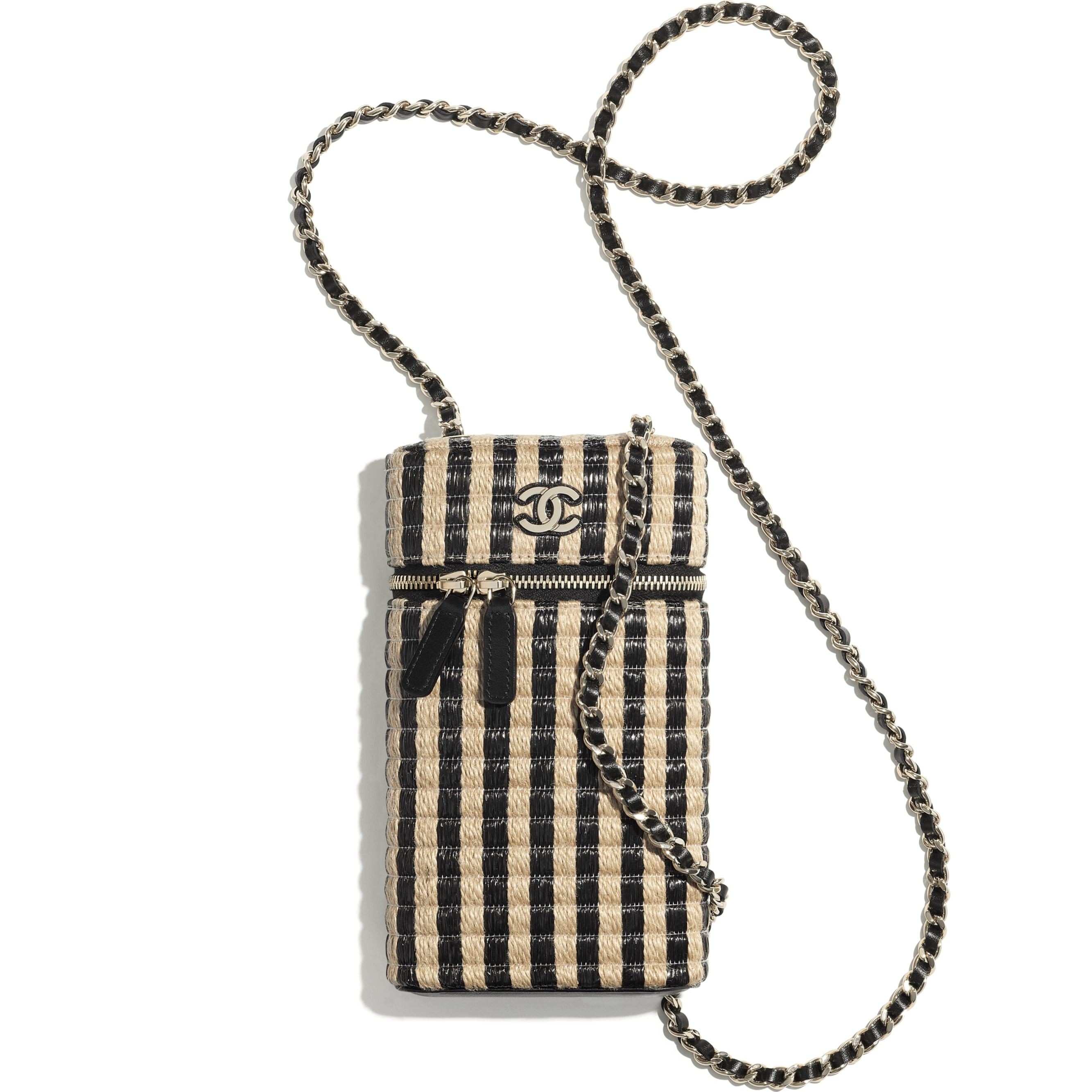 Vanity Phone Holder with Chain - Black & Beige - Raffia, Jute Thread & Gold-Tone Metal - CHANEL - Other view - see standard sized version