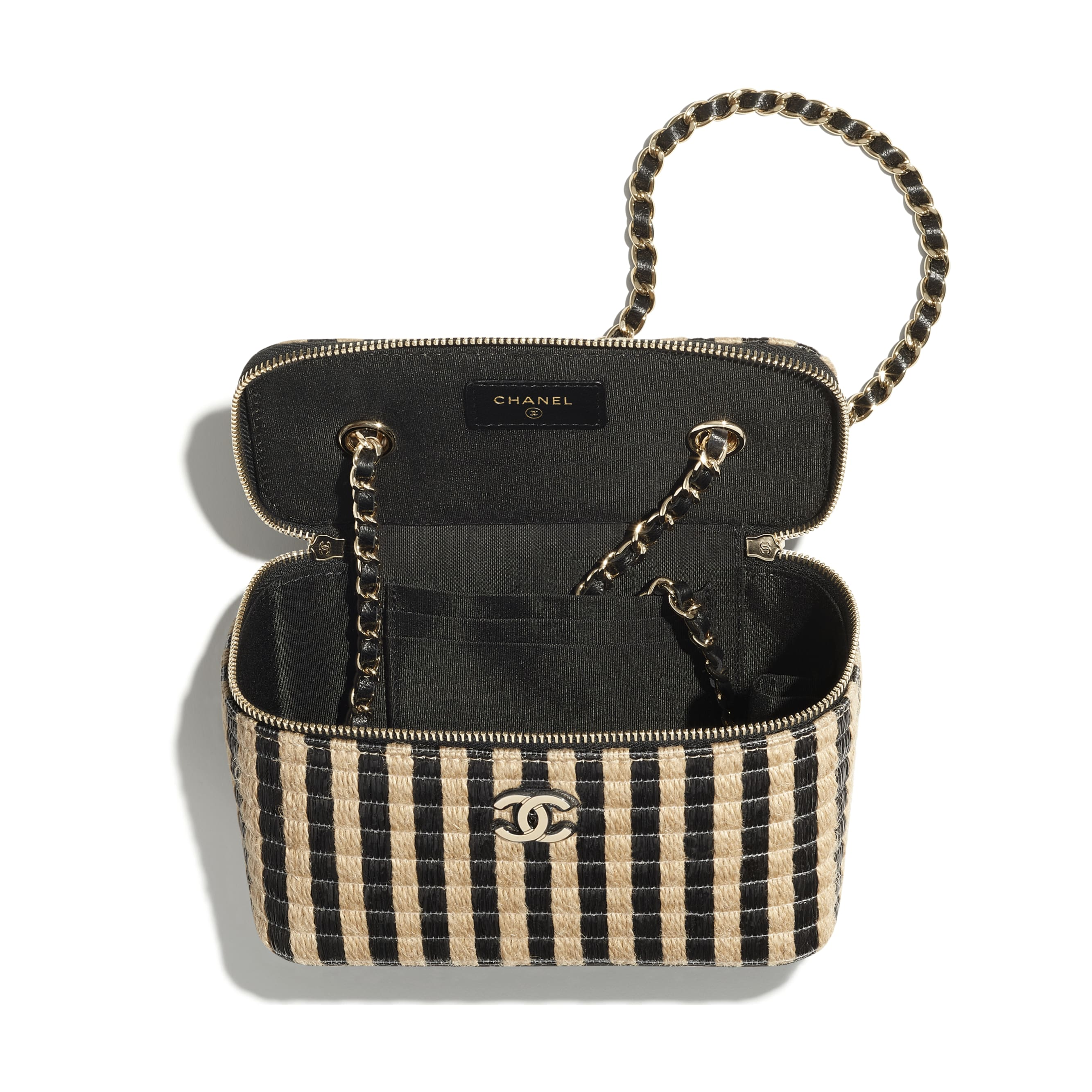 Vanity with Chain - Black & Beige - Raffia, Jute Thread & Gold-Tone Metal - CHANEL - Alternative view - see standard sized version
