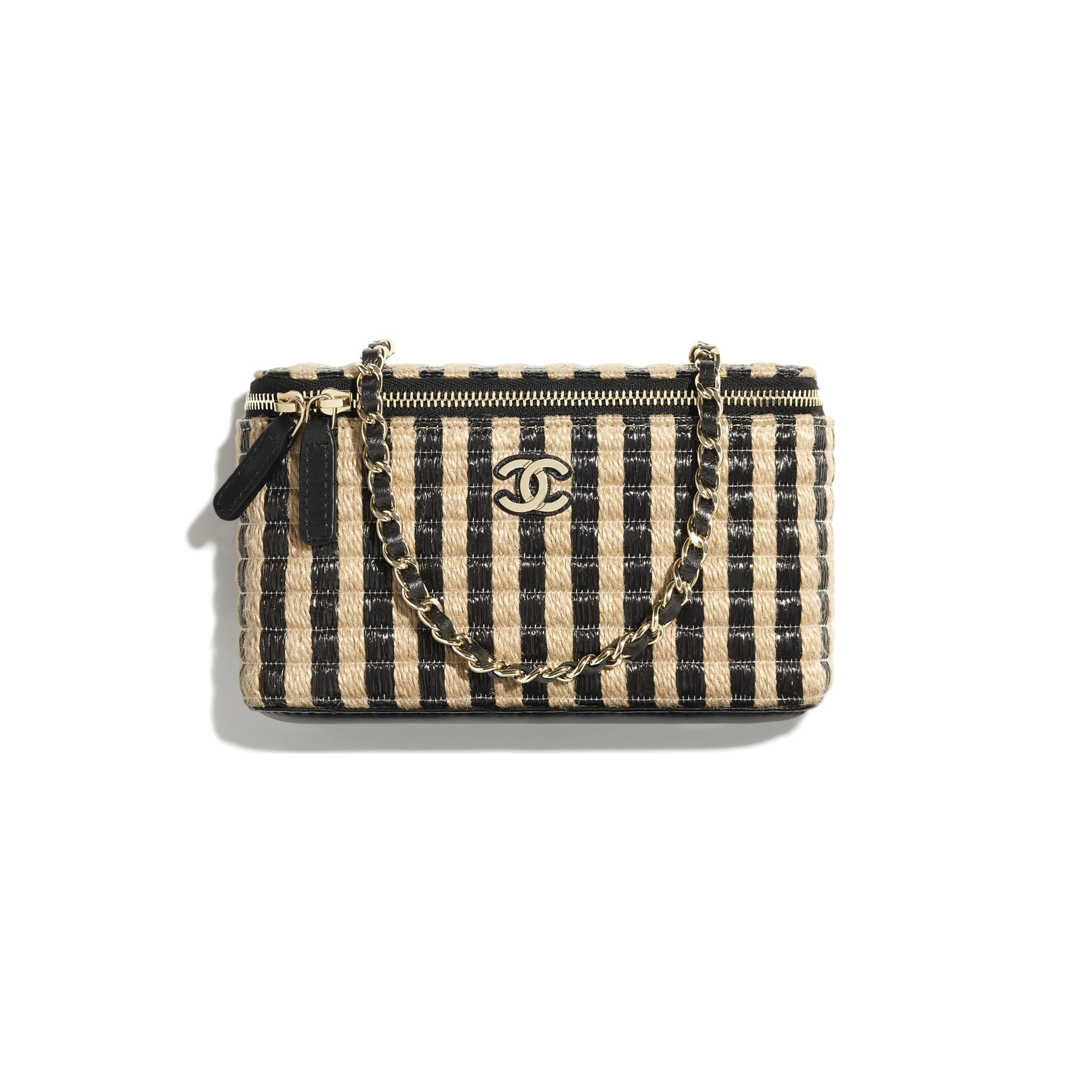 Vanity with Chain - Black & Beige - Raffia, Jute Thread & Gold-Tone Metal - CHANEL - Default view - see standard sized version
