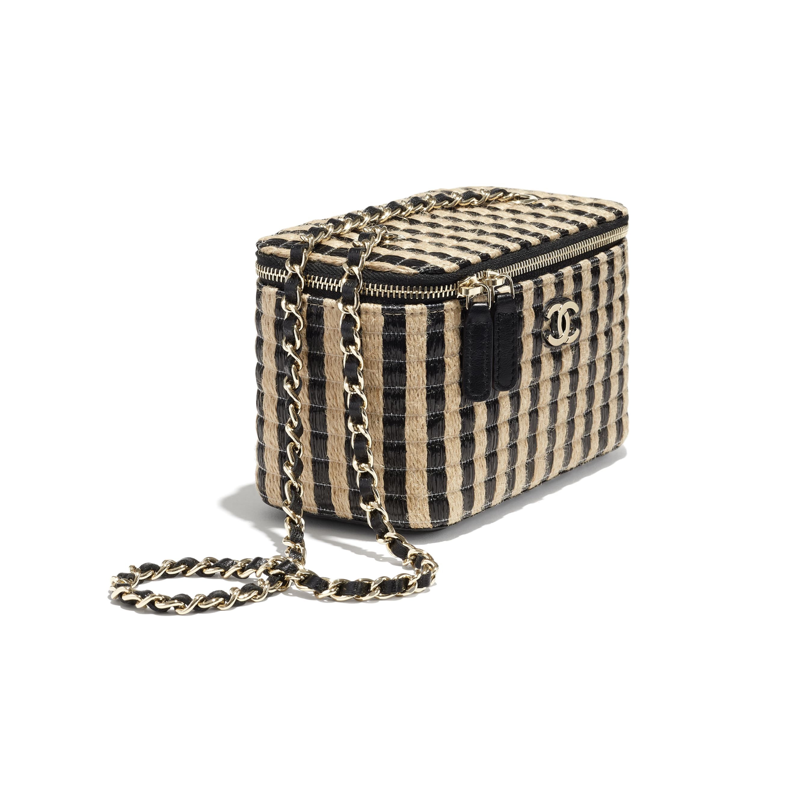 Vanity with Chain - Black & Beige - Raffia, Jute Thread & Gold-Tone Metal - CHANEL - Extra view - see standard sized version
