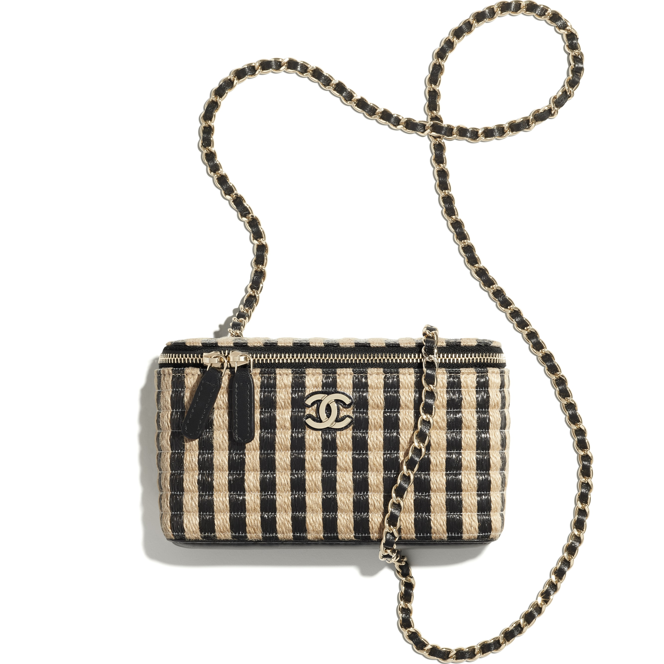 Vanity with Chain - Black & Beige - Raffia, Jute Thread & Gold-Tone Metal - CHANEL - Other view - see standard sized version