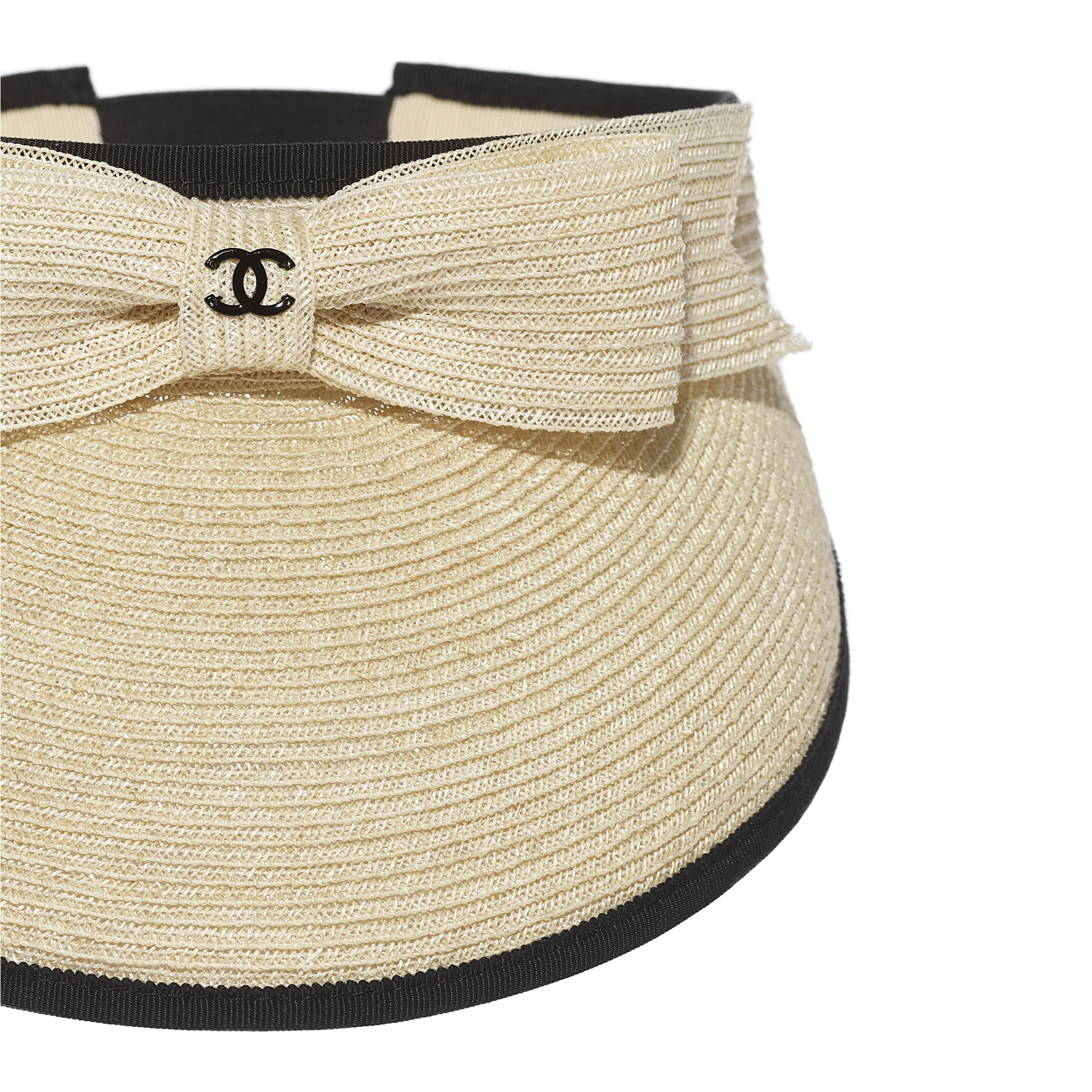 Visor - Beige & Black - Straw & Grosgrain - CHANEL - Alternative view - see standard sized version
