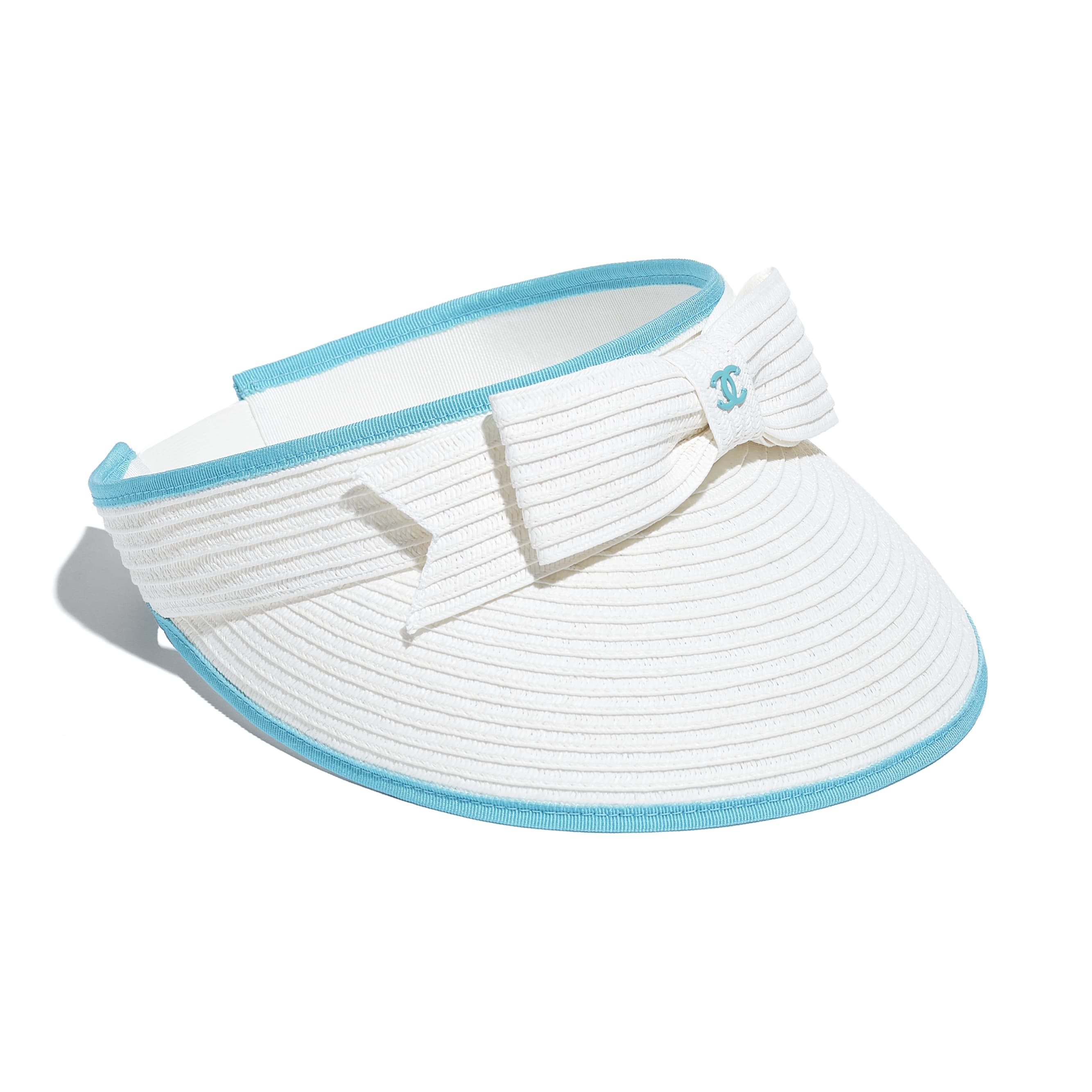 Visor - White & Blue - Straw & Grosgrain - CHANEL - Alternative view - see standard sized version