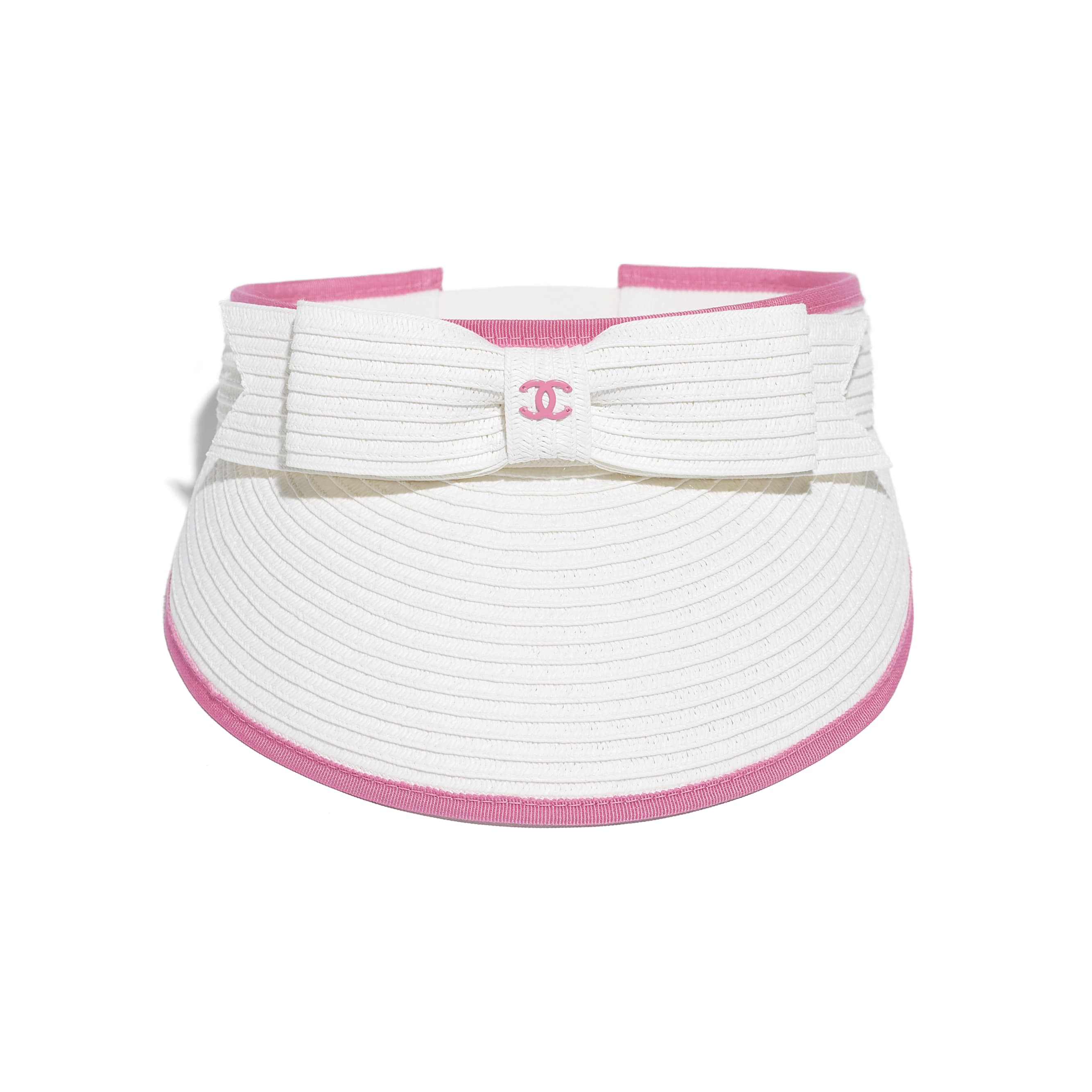 Visor - White & Pink - Straw & Grosgrain - CHANEL - Alternative view - see standard sized version