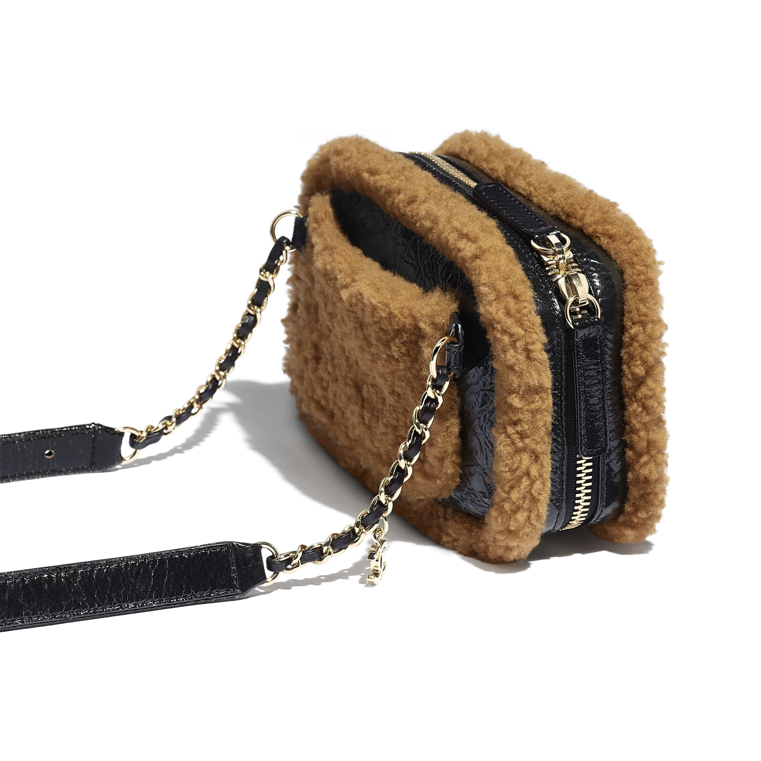 Waist Bag - Black & Brown - Shiny Crumpled Sheepskin, Shearling Sheepskin & Gold-Tone Metal - Extra view - see standard sized version