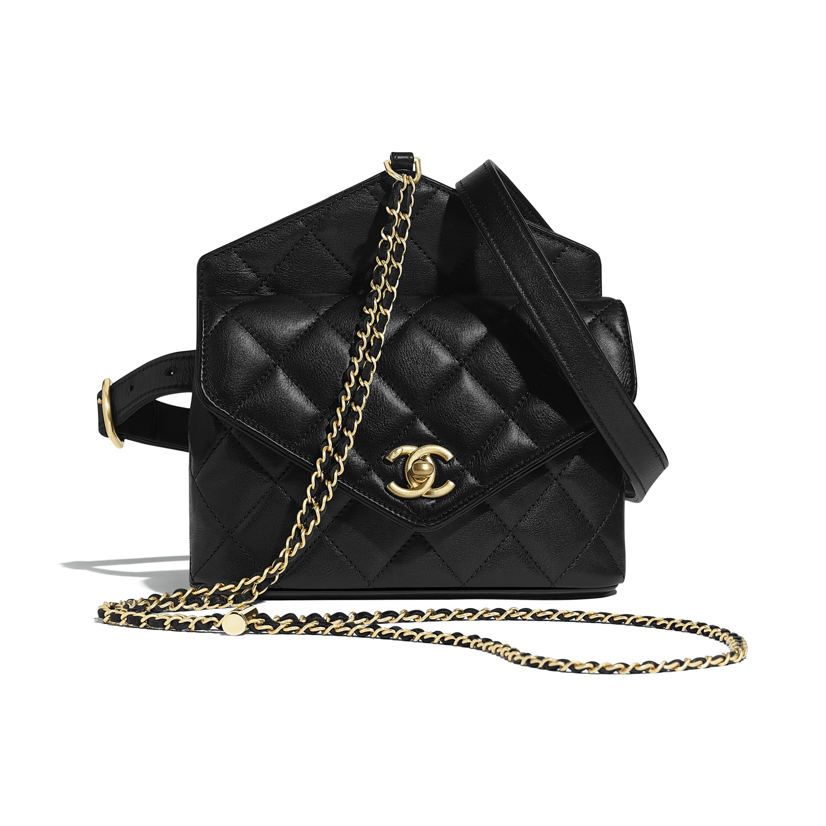 Waist Bag - Black - Calfskin & Gold-Tone Metal - Default view - see standard sized version