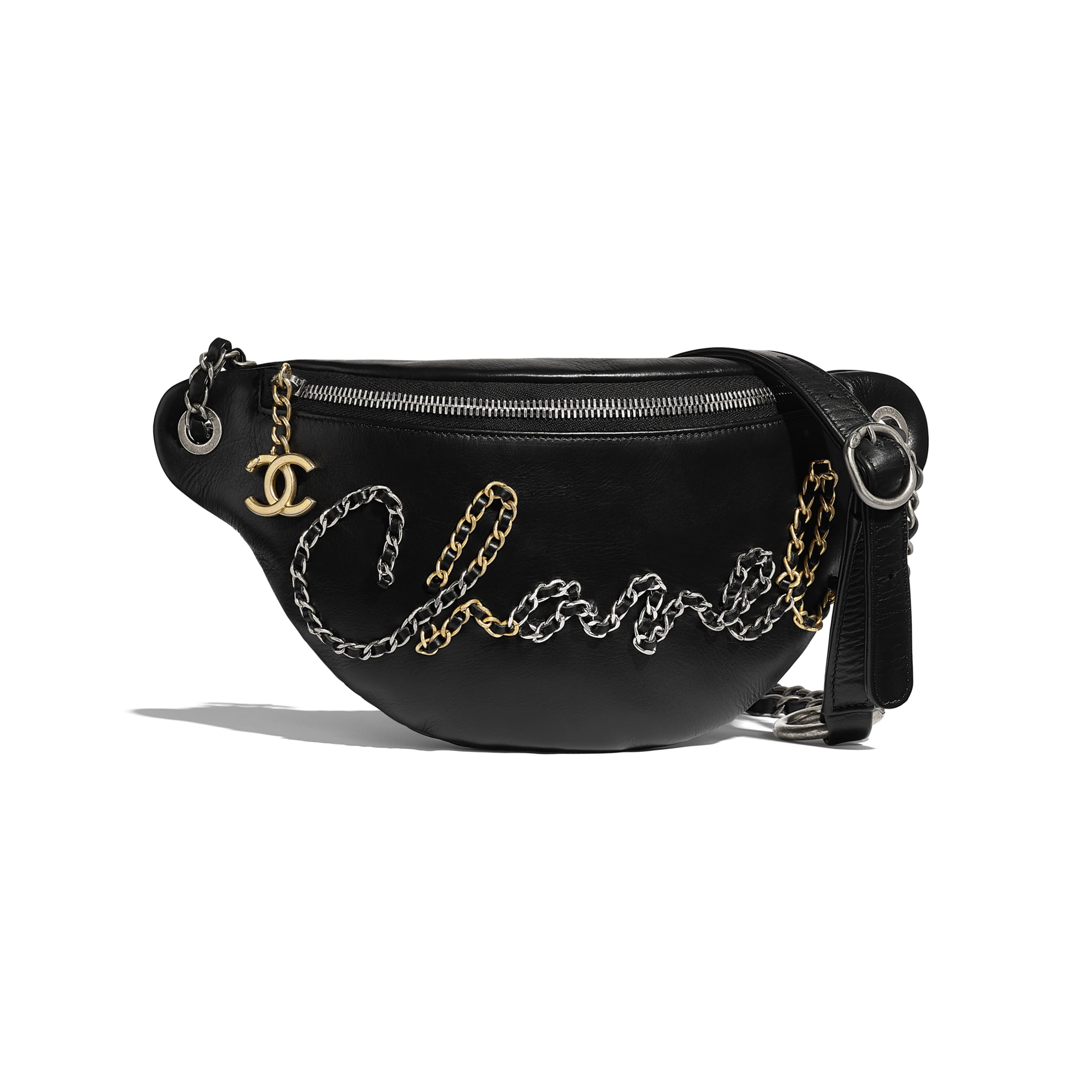 Waist Bag - Black - Calfskin, Gold-Tone, Silver-Tone & Ruthenium-Finish Metal - Default view - see standard sized version