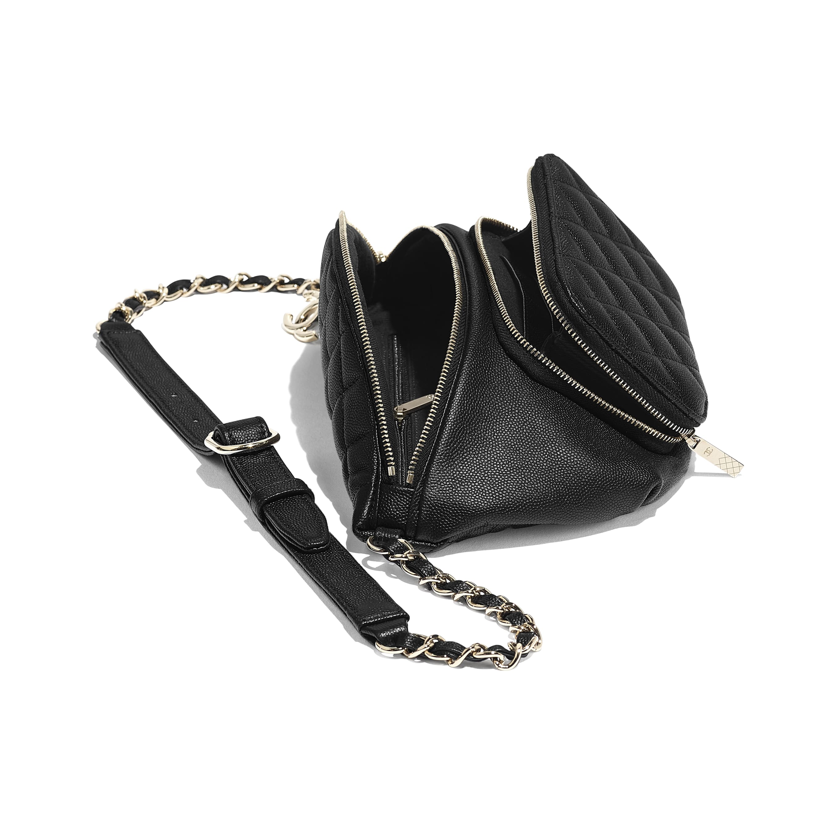 Waist Bag - Black - Grained Calfskin & Gold-Tone Metal - Other view - see standard sized version