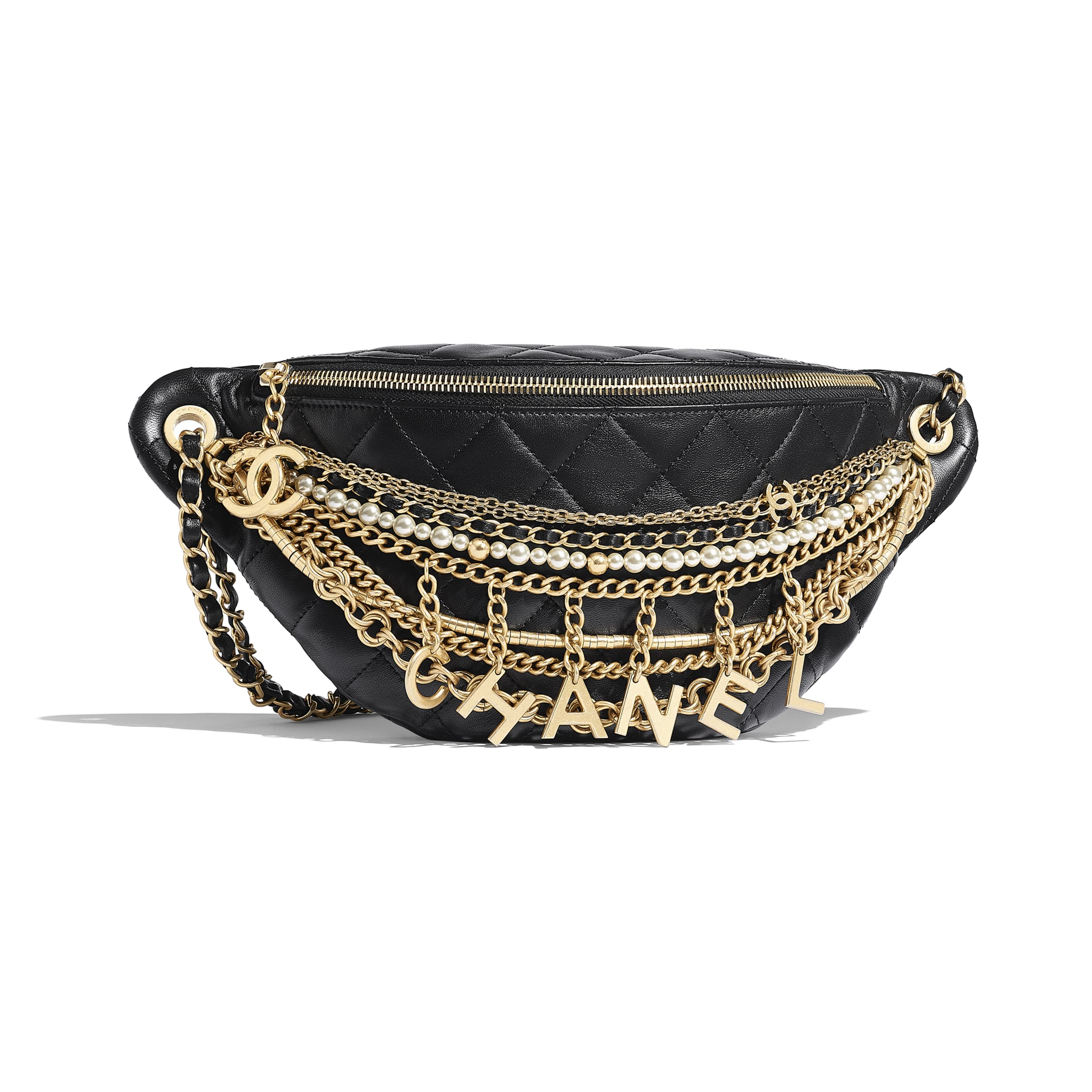 942571be Lambskin, Gold-Tone & Silver-Tone Metal Black Waist Bag | CHANEL