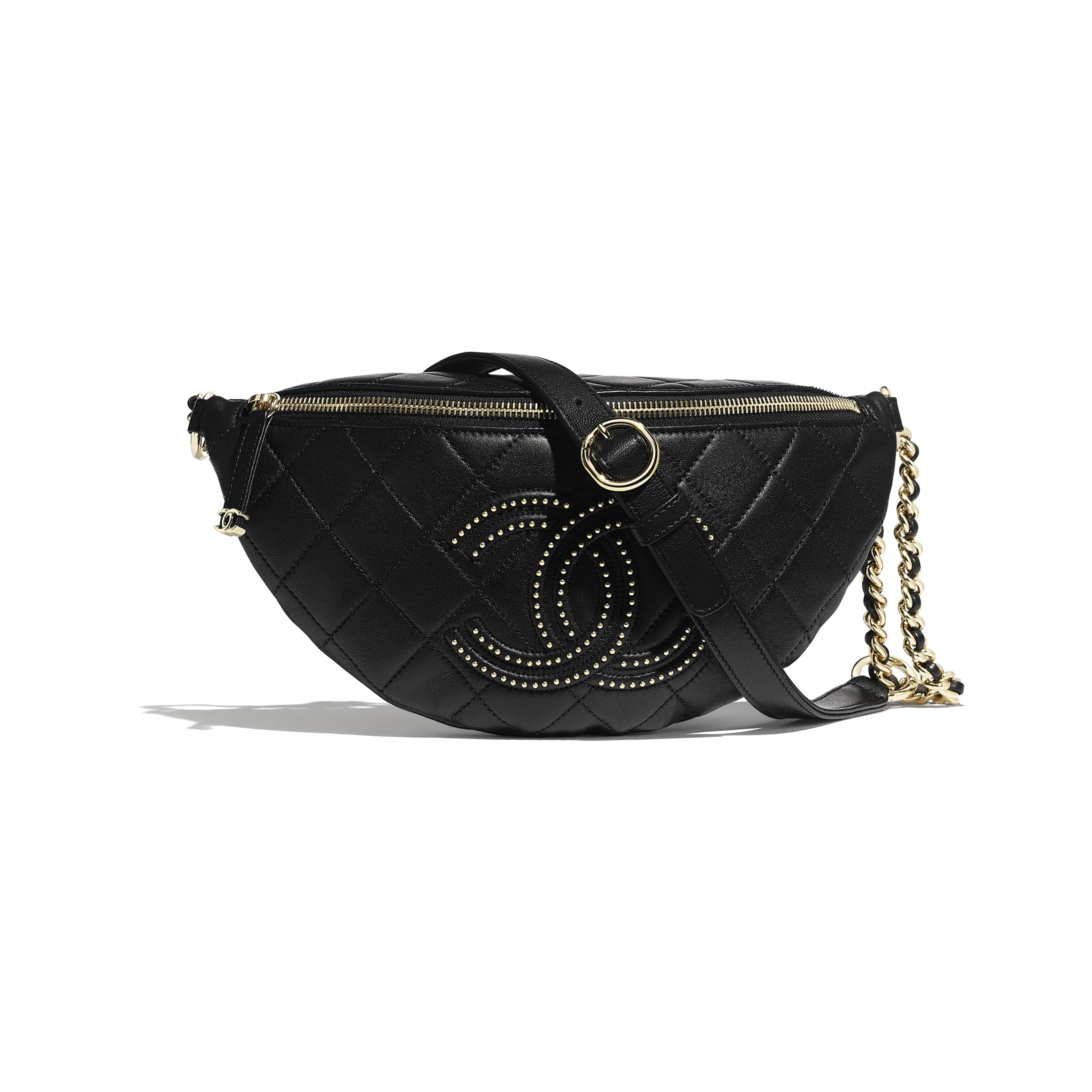 Waist Bag - Black - Lambskin, Studs & Gold-Tone Metal - Default view - see standard sized version