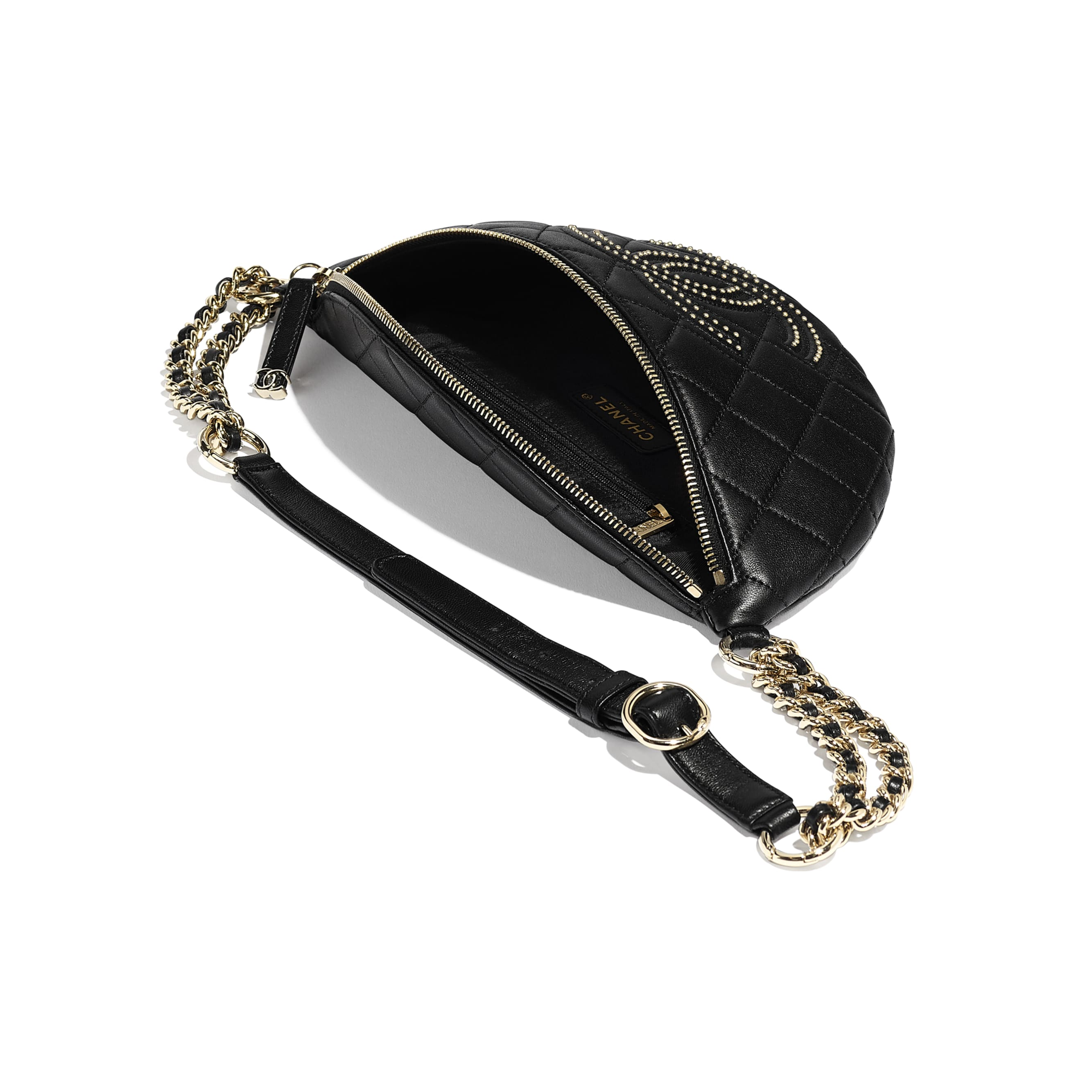 Waist Bag - Black - Lambskin, Studs & Gold-Tone Metal - Other view - see standard sized version