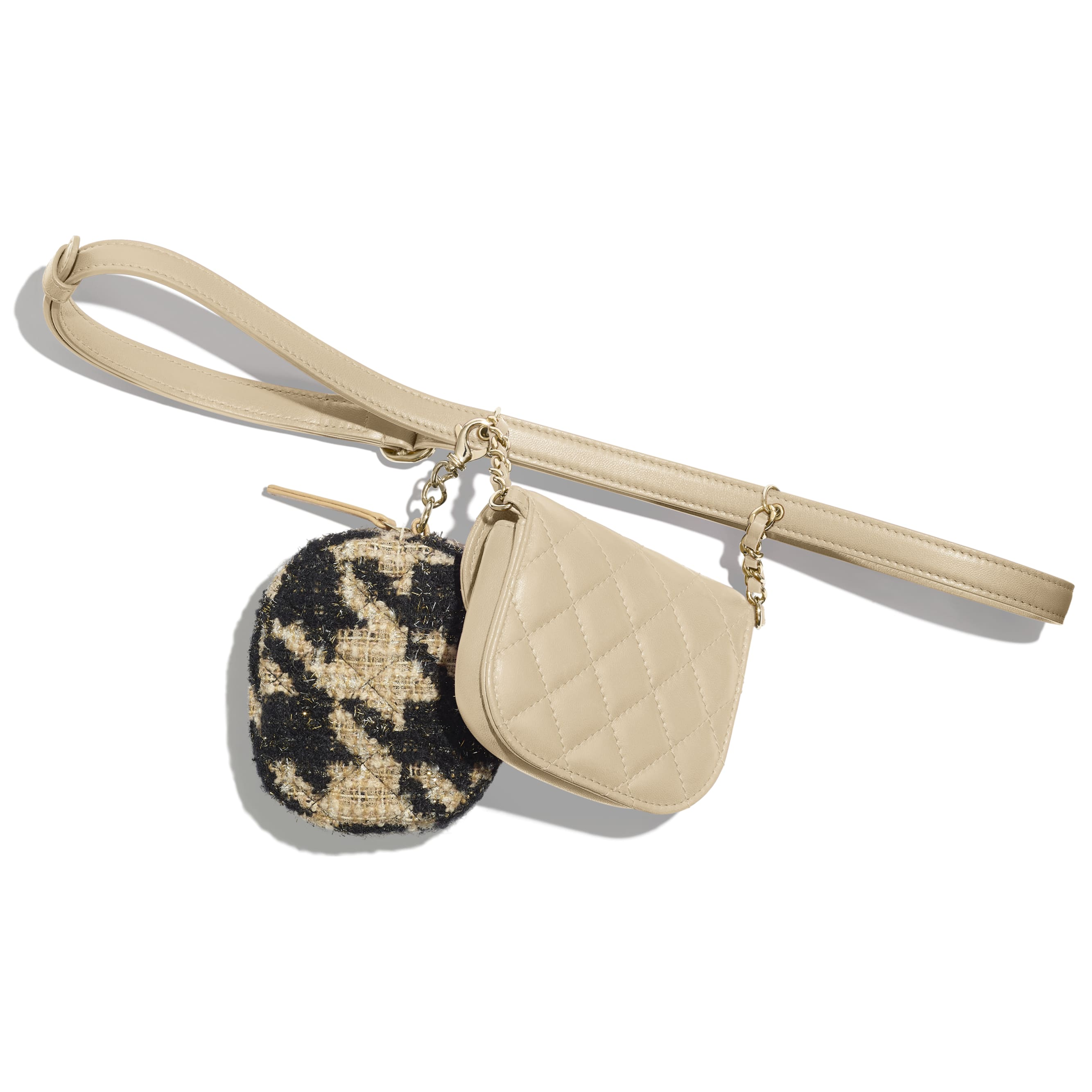 Waist Bag & Coin Purse - Beige & Black - Lambskin, Tweed & Gold-Tone Metal - Alternative view - see standard sized version
