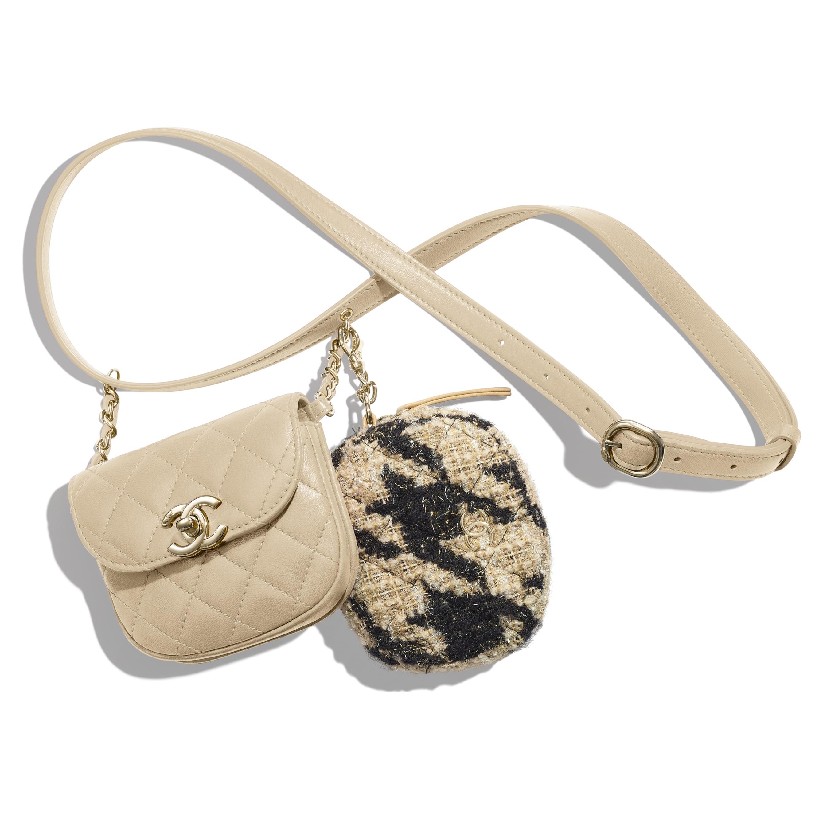 Waist Bag & Coin Purse - Beige & Black - Lambskin, Tweed & Gold-Tone Metal - Default view - see standard sized version